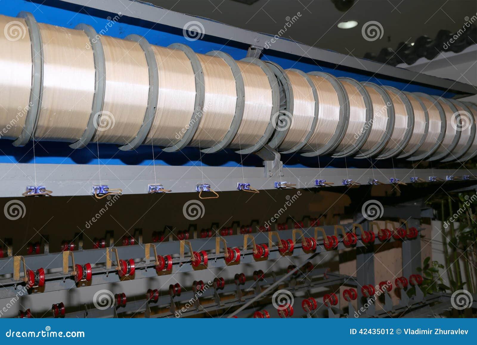 Máquinas de seda viejas en la fábrica china, Pekín