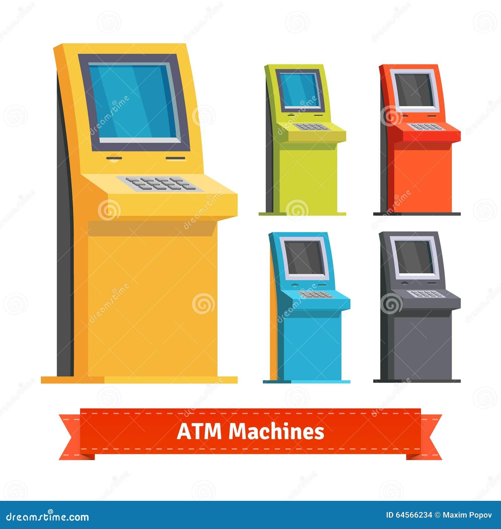 Máquinas do ATM, terminais ou quiosque de informação coloridos