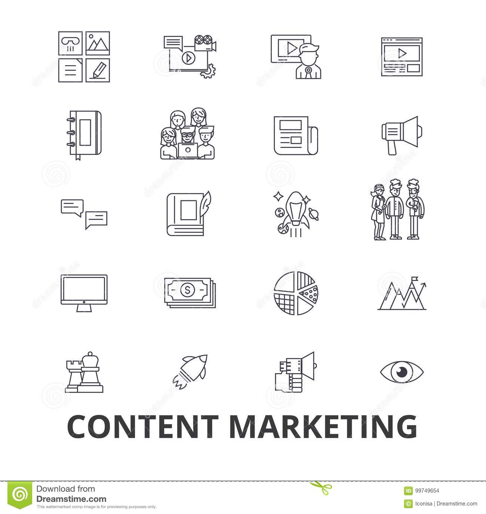 Márketing contento, medio social, gestión, en línea, texto de la escritura, línea iconos de la información Movimientos Editable D