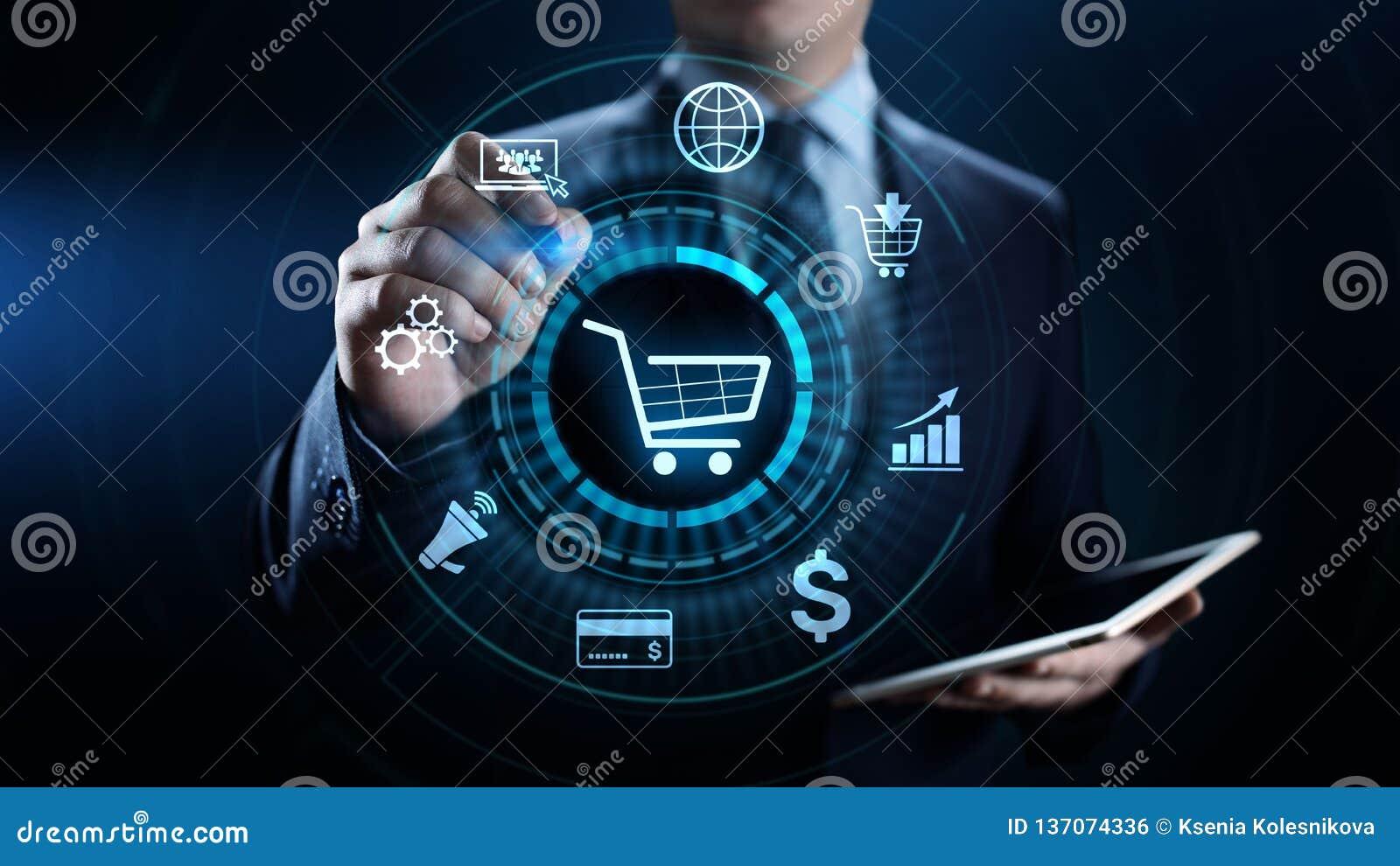 Márketing de Digitaces del comercio electrónico y concepto en línea de la tecnología del negocio de las ventas que hacen compras