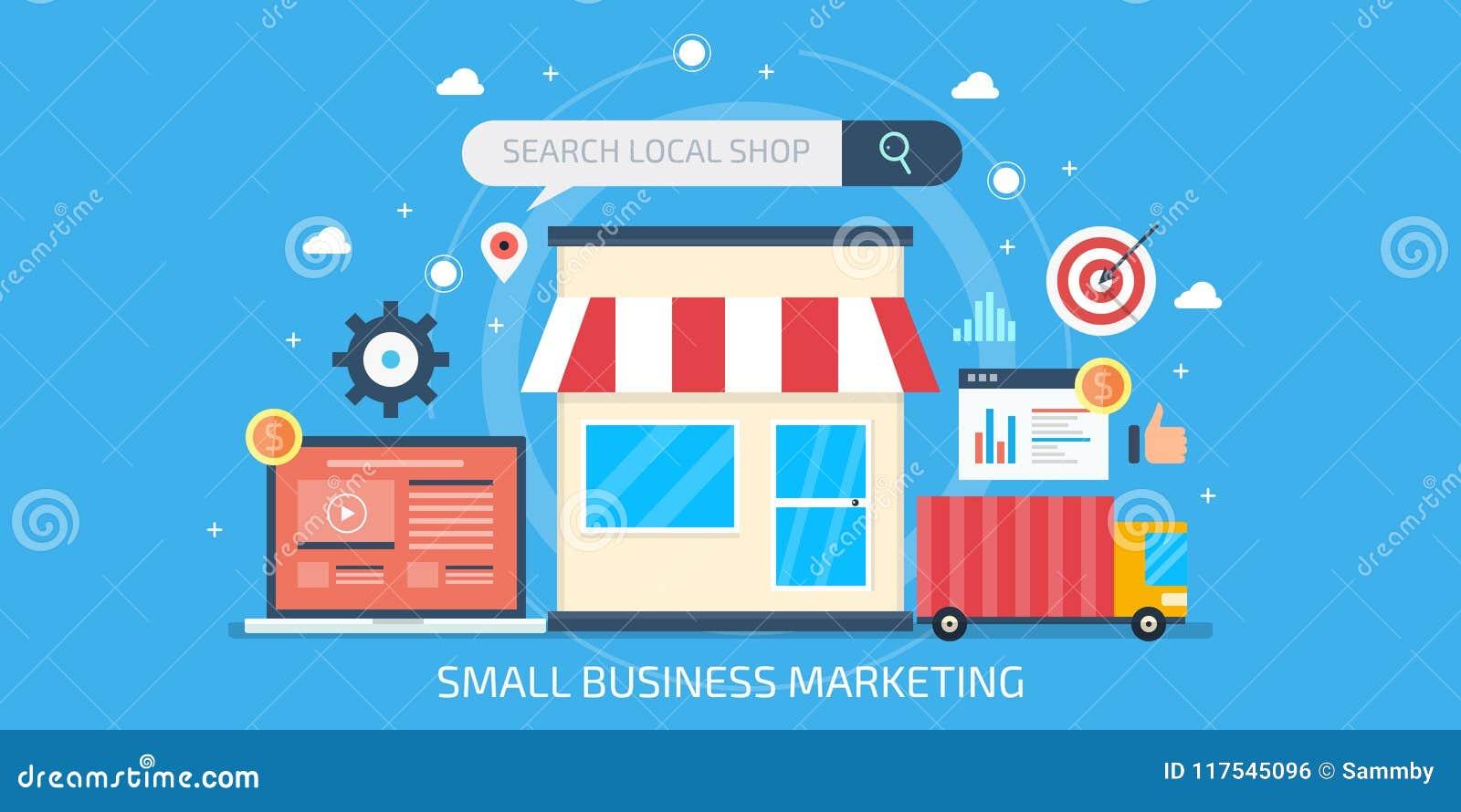Márketing de la pequeña empresa, optimización local del negocio, márketing del seo, anuncio de Internet para las pequeñas tiendas