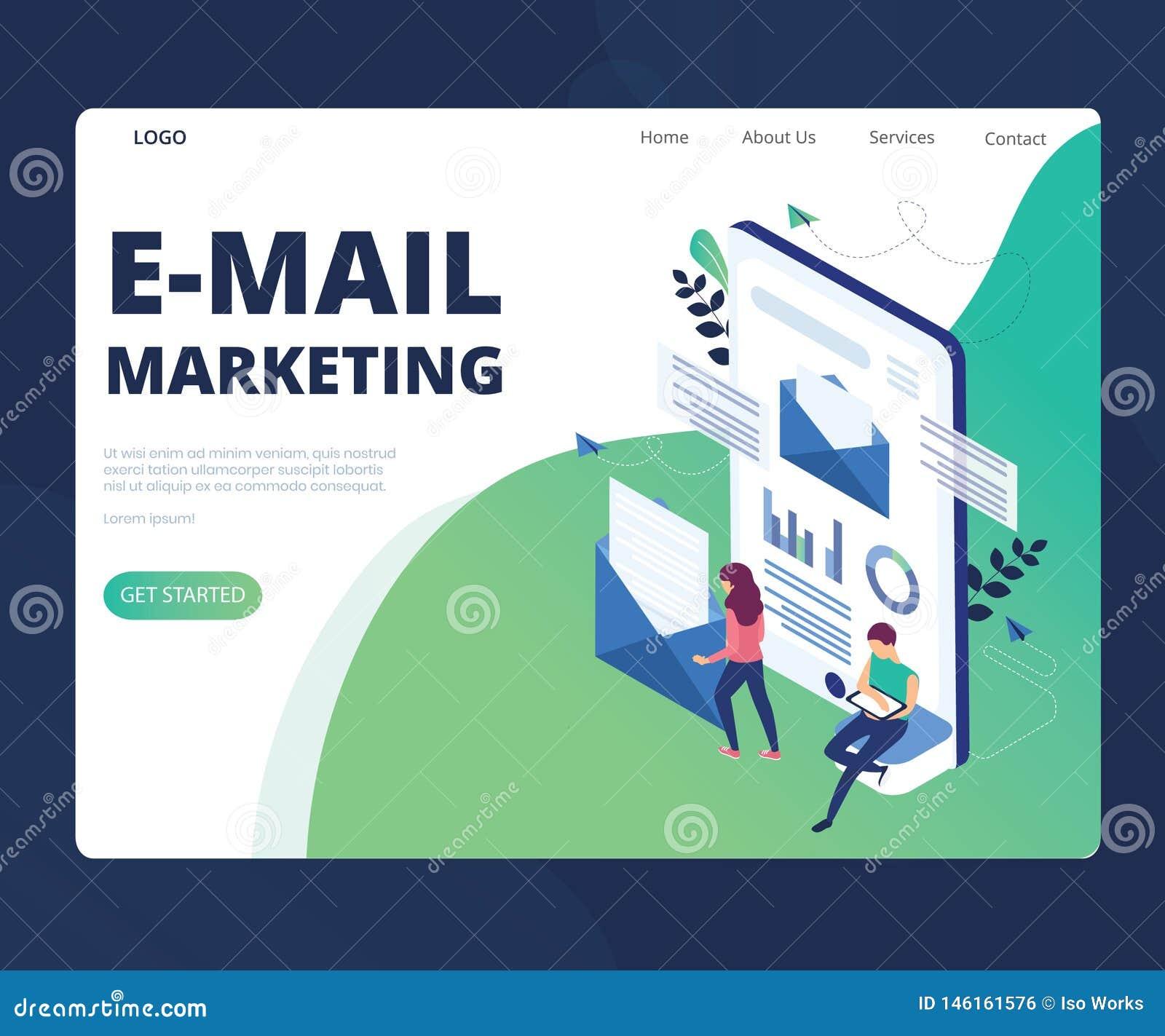 Márketing del correo electrónico para el concepto isométrico cada vez mayor de las ilustraciones del negocio