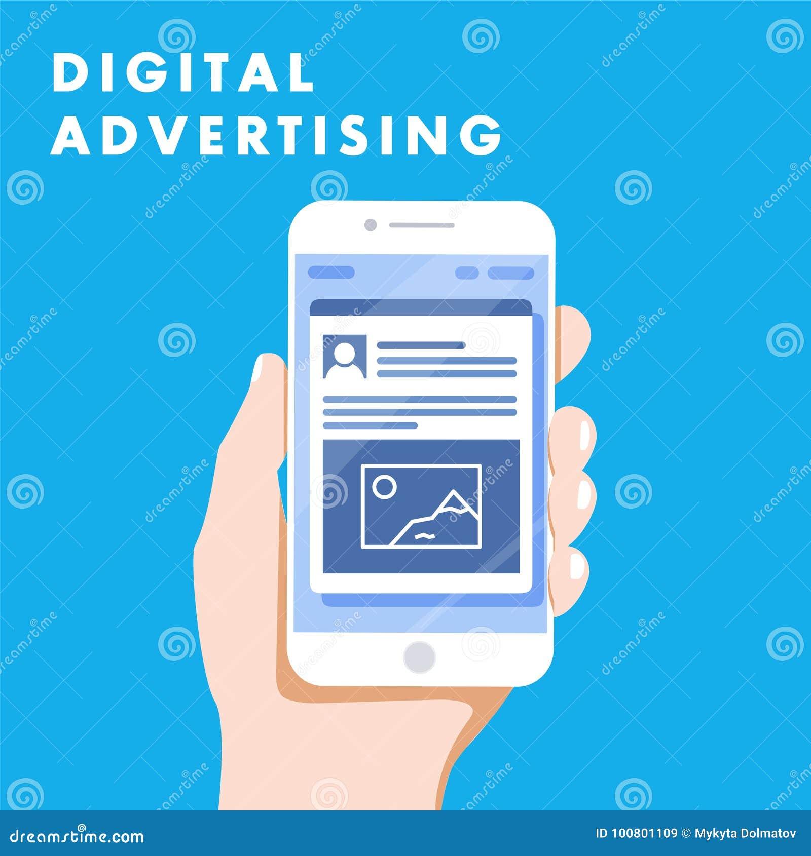 Márketing en línea social de los anuncios de la publicidad de Digitaces medios Concepto del ejemplo