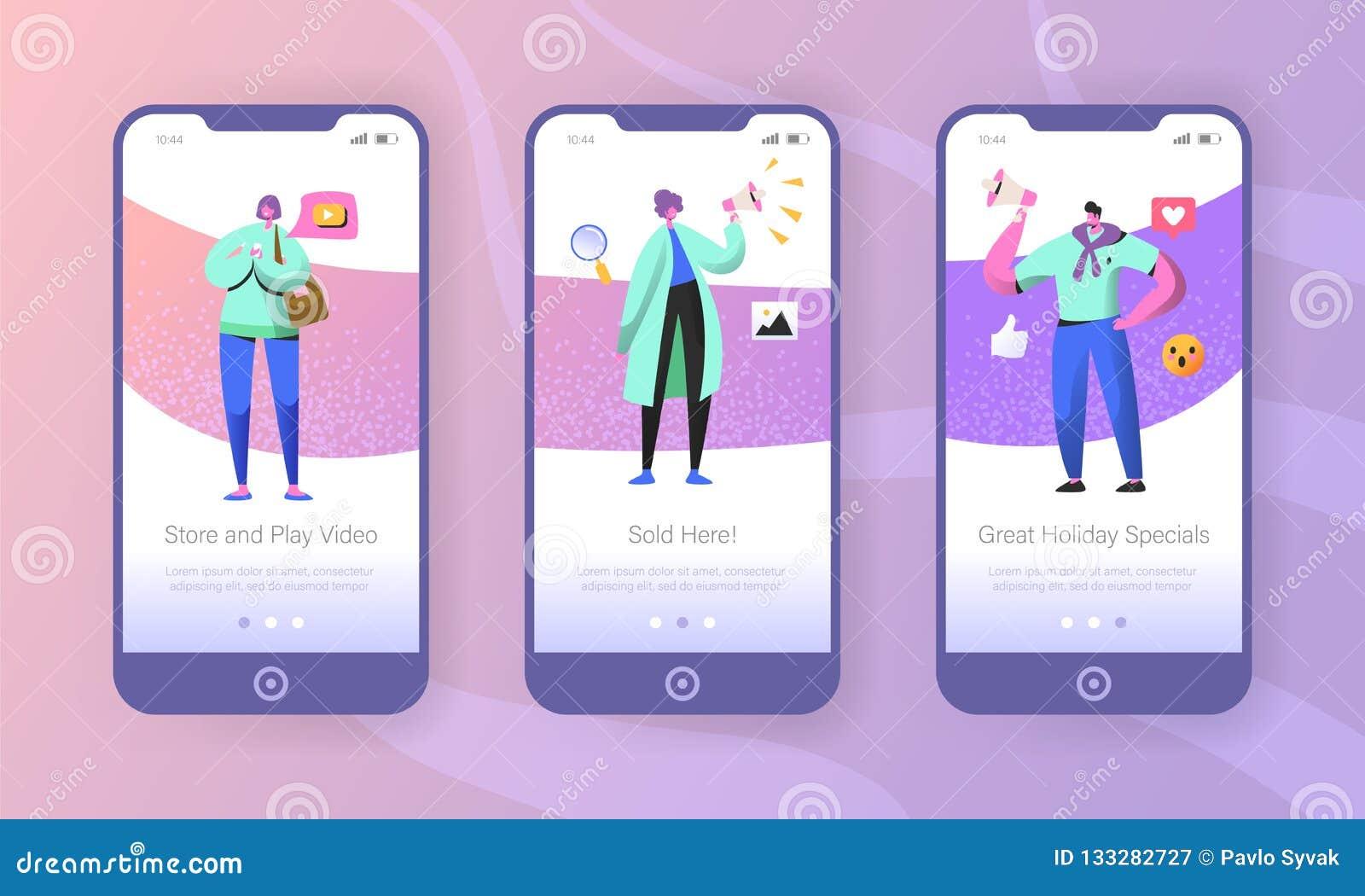 Márketing social onboarding las pantallas móviles del app