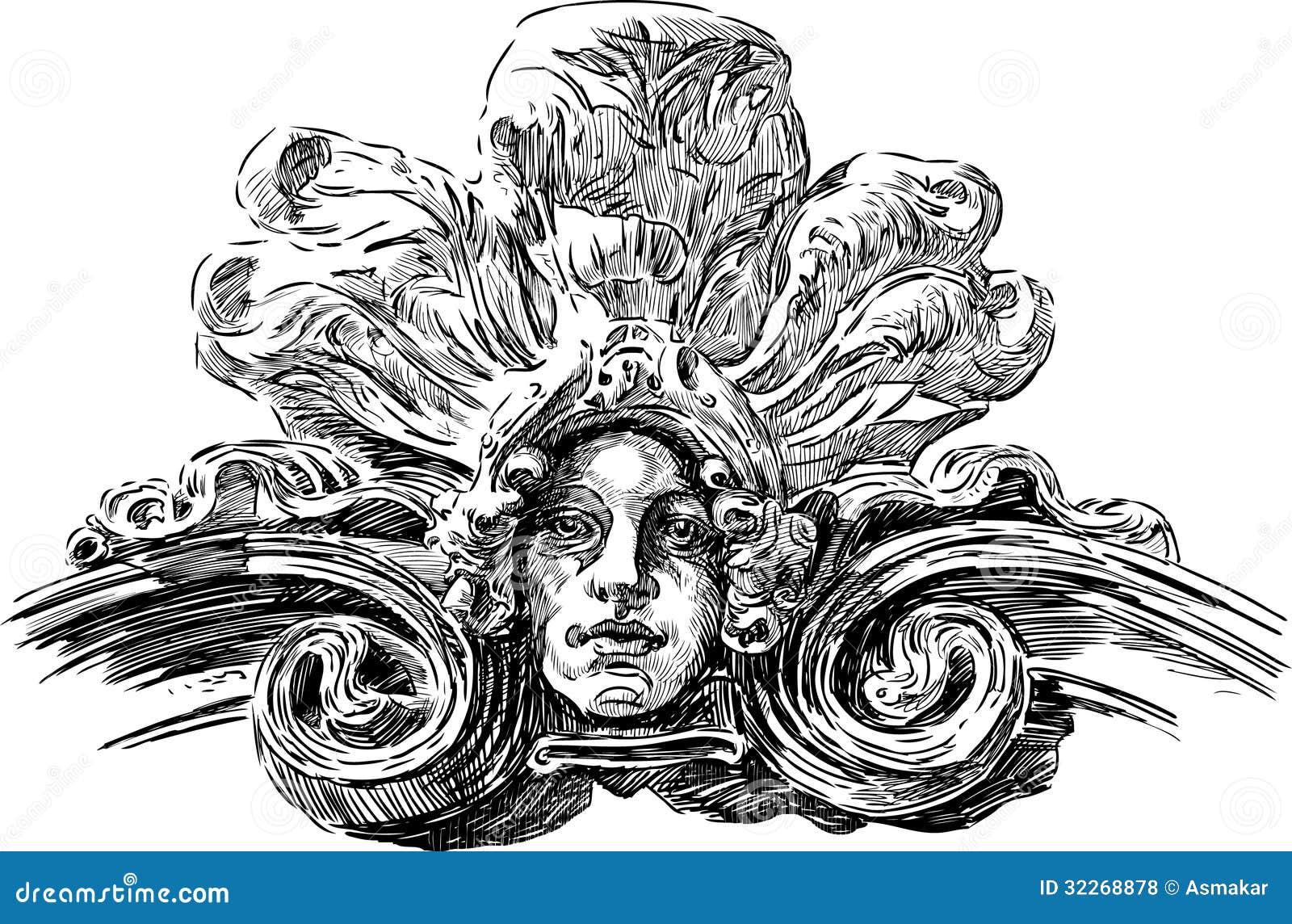 m225scara de art nouveau ilustraci243n del vector ilustraci243n