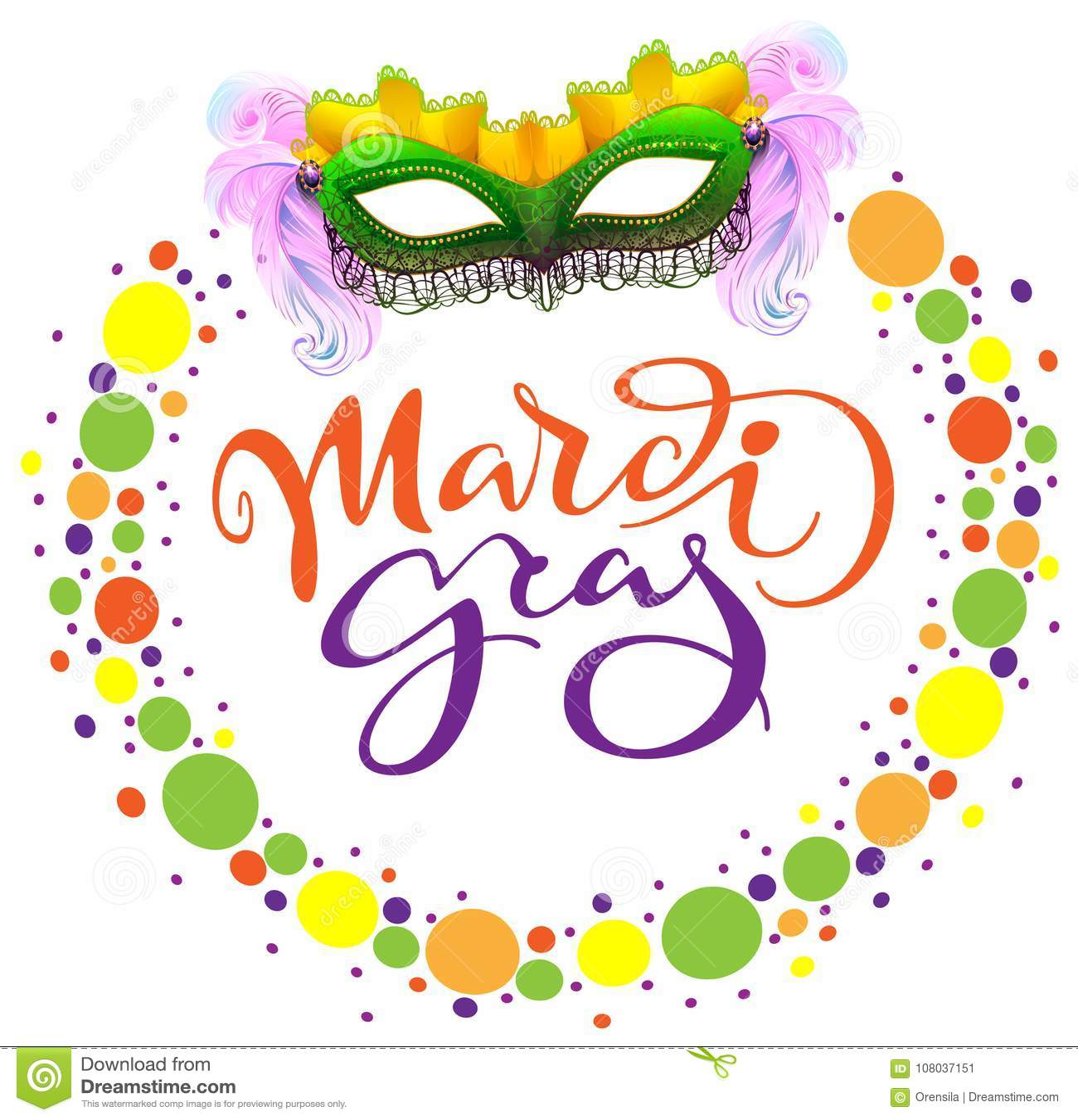 Máscara De Mardi Gras Del Carnaval Y Confeti Coloreado Plantilla De ...