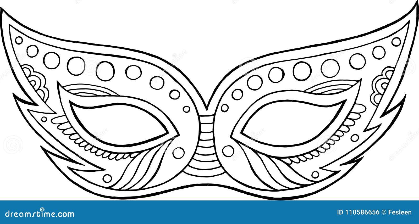 Máscara De Mardi Gras - Elemento Aislado Esquema Página Que Colorea ...