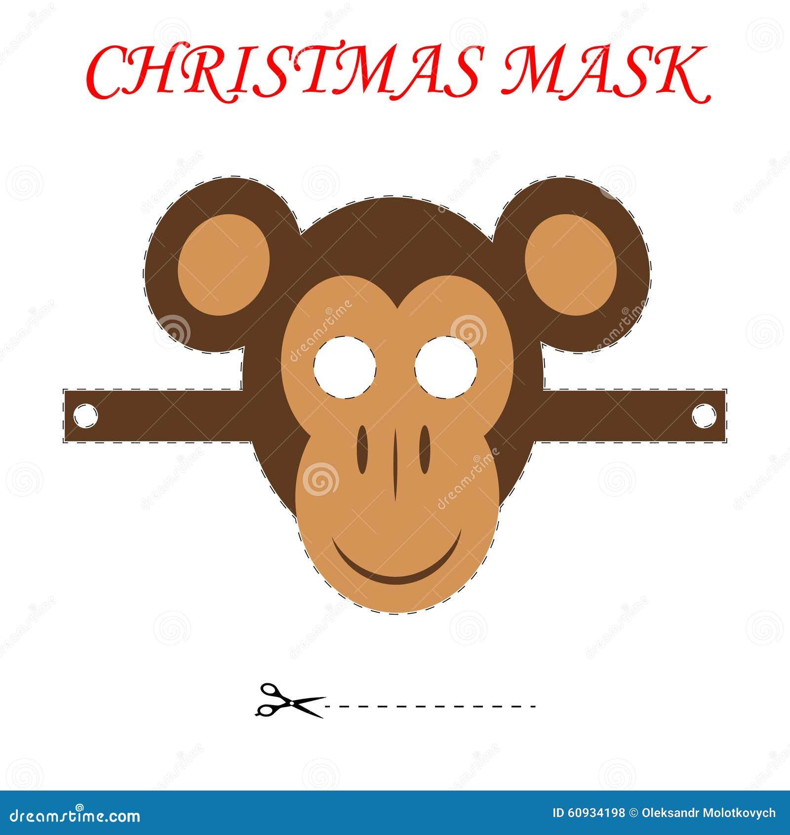 Máscara Del Mono De La Navidad Ilustración del Vector - Ilustración ...
