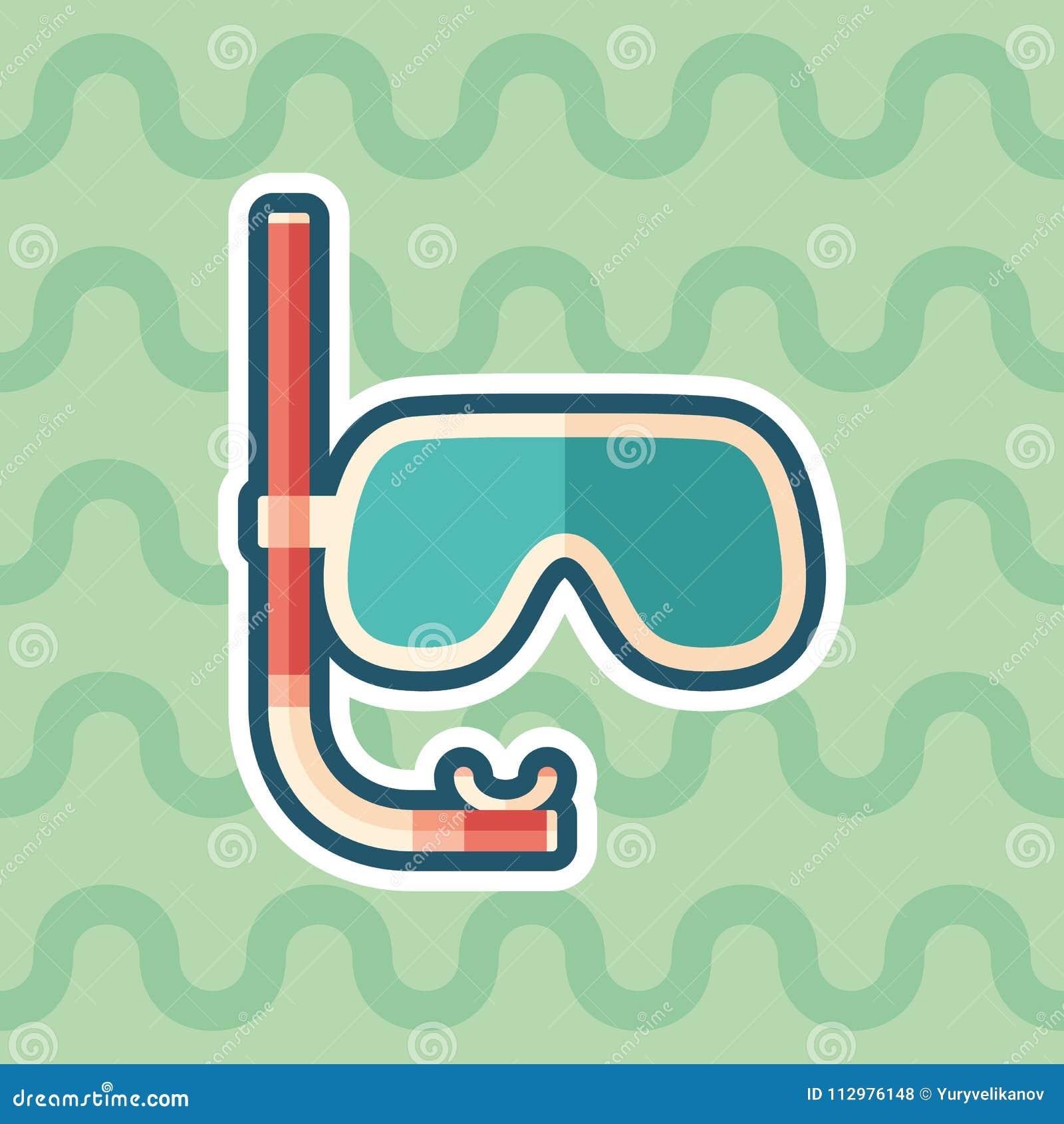 Máscara do mergulho com ícone liso da etiqueta do tubo de respiração com fundo da cor