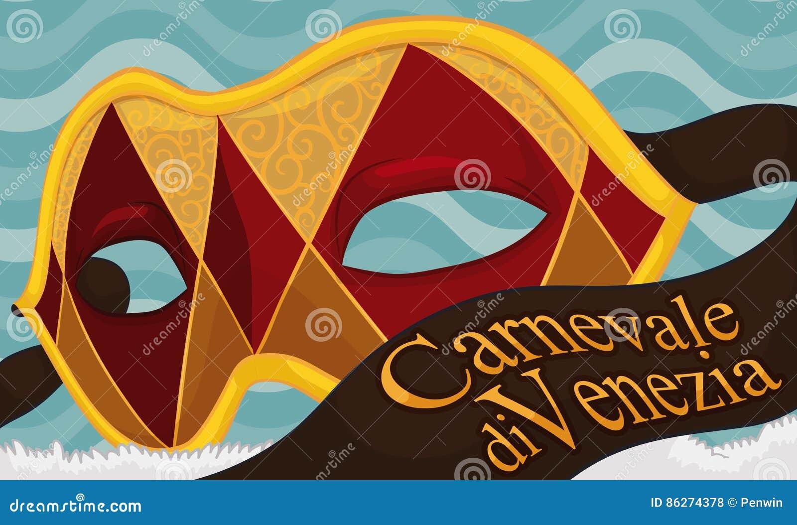 d6c90996018 A bandeira com máscara dourada e vermelha do colombino com uma variação das  fitas do projeto e dos cumprimentos do arlequim que comemoram o ` de  Venezia dos ...