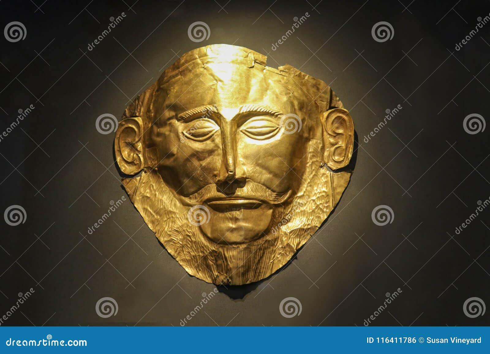 Máscara fúnebre dourada de Agamemnon Atenas Grécia 01 04 2018