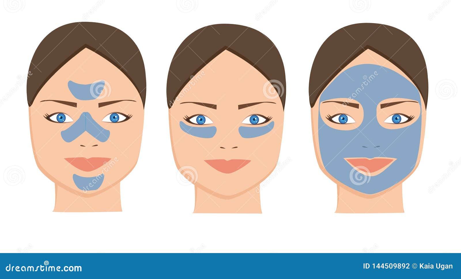 Máscara facial da argila azul fêmea para cuidados com a pele cosméticos Mulher dos termas que aplica o ícone de limpeza facial da