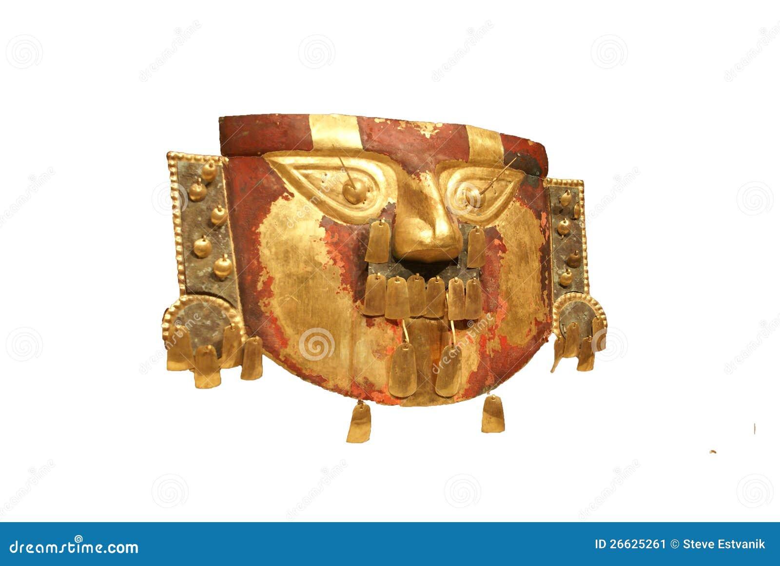 Máscara Funeraria Peruana, Oro Martillado De Perú Imagen de archivo ...