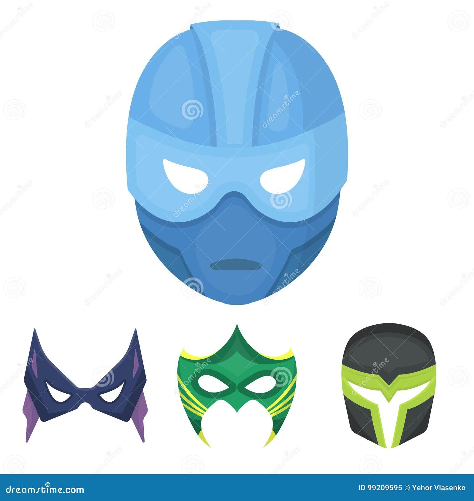 30ac69189f Máscara na cabeça e nos olhos Os ícones ajustados da coleção da máscara do  super-herói no estilo dos desenhos animados vector a ilustração conservada  em ...