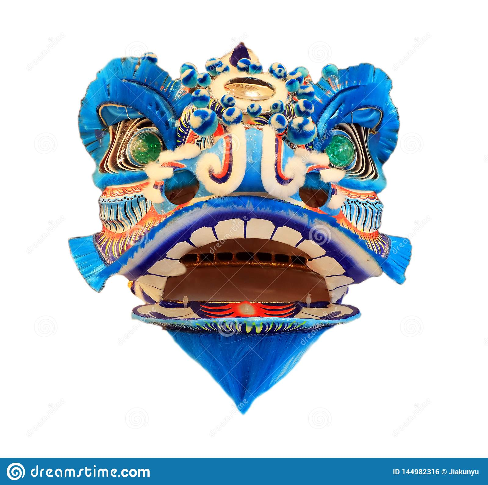 Máscara principal chinesa da dança de leão isolada no fundo branco, estilo chinês, azul