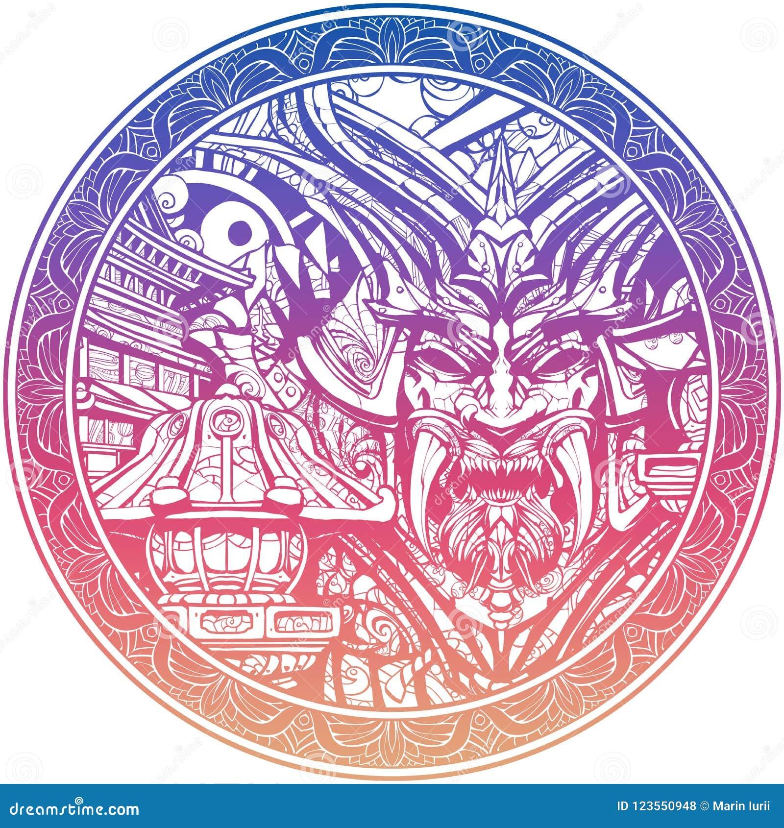 Máscara siniestra del samurai con los colmillos