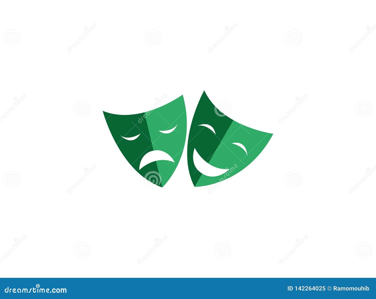 Máscaras de teatro una cara doble caras felices y tristes de dos para el logotipo