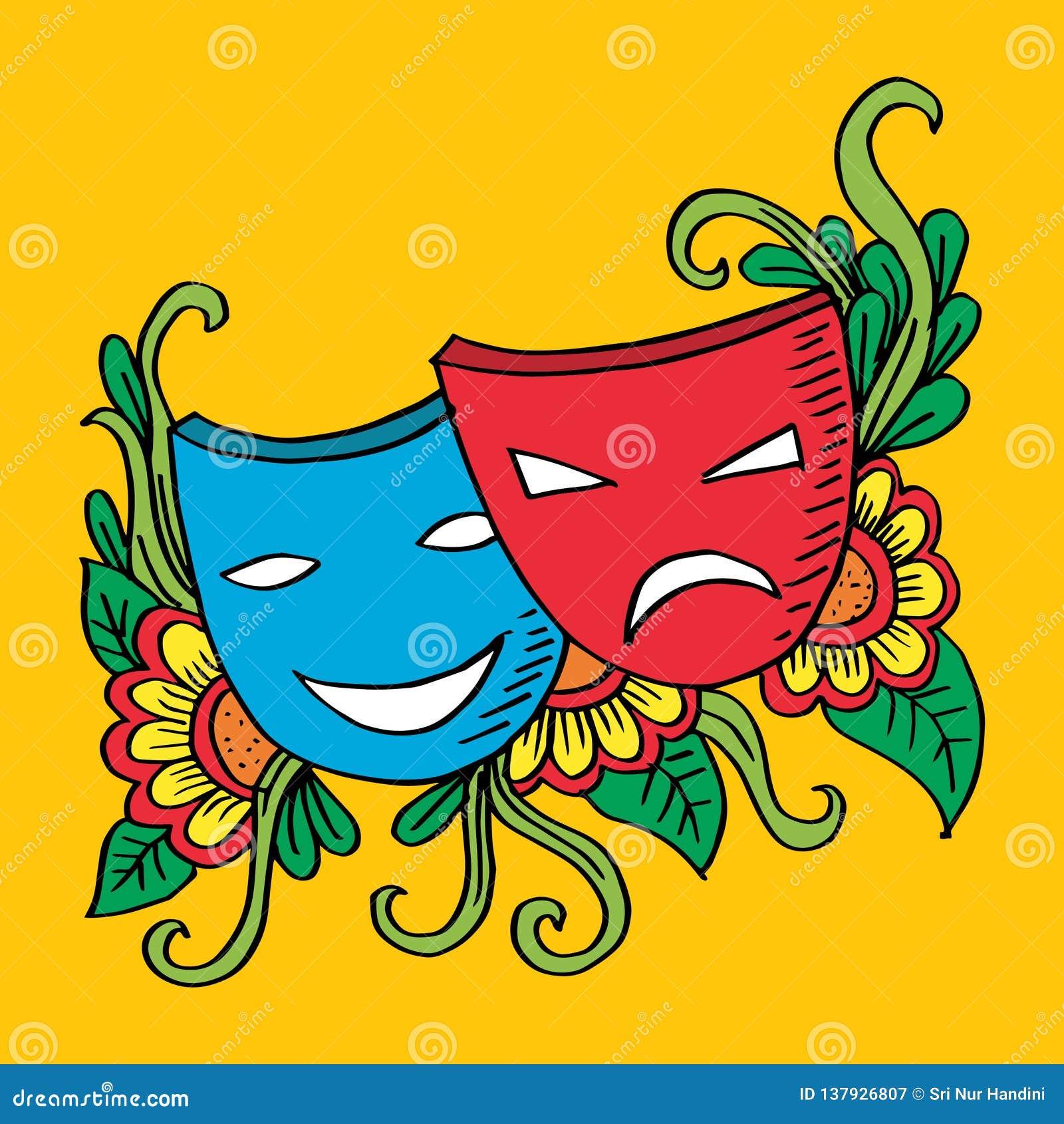 Máscaras, drama y comedia del teatro