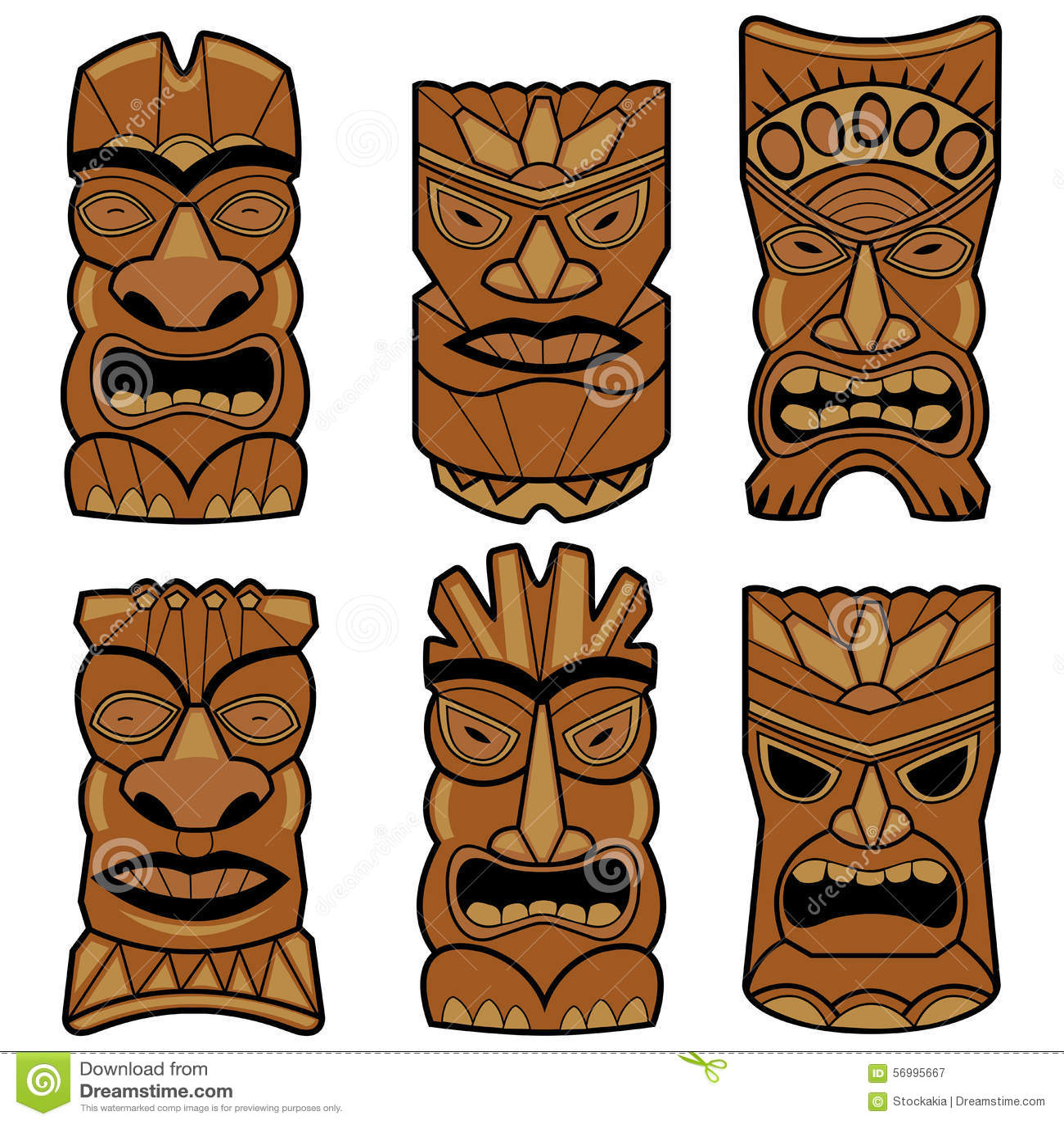 M scaras hawaianas de la estatua del tiki fijadas for Tiki hawaiano