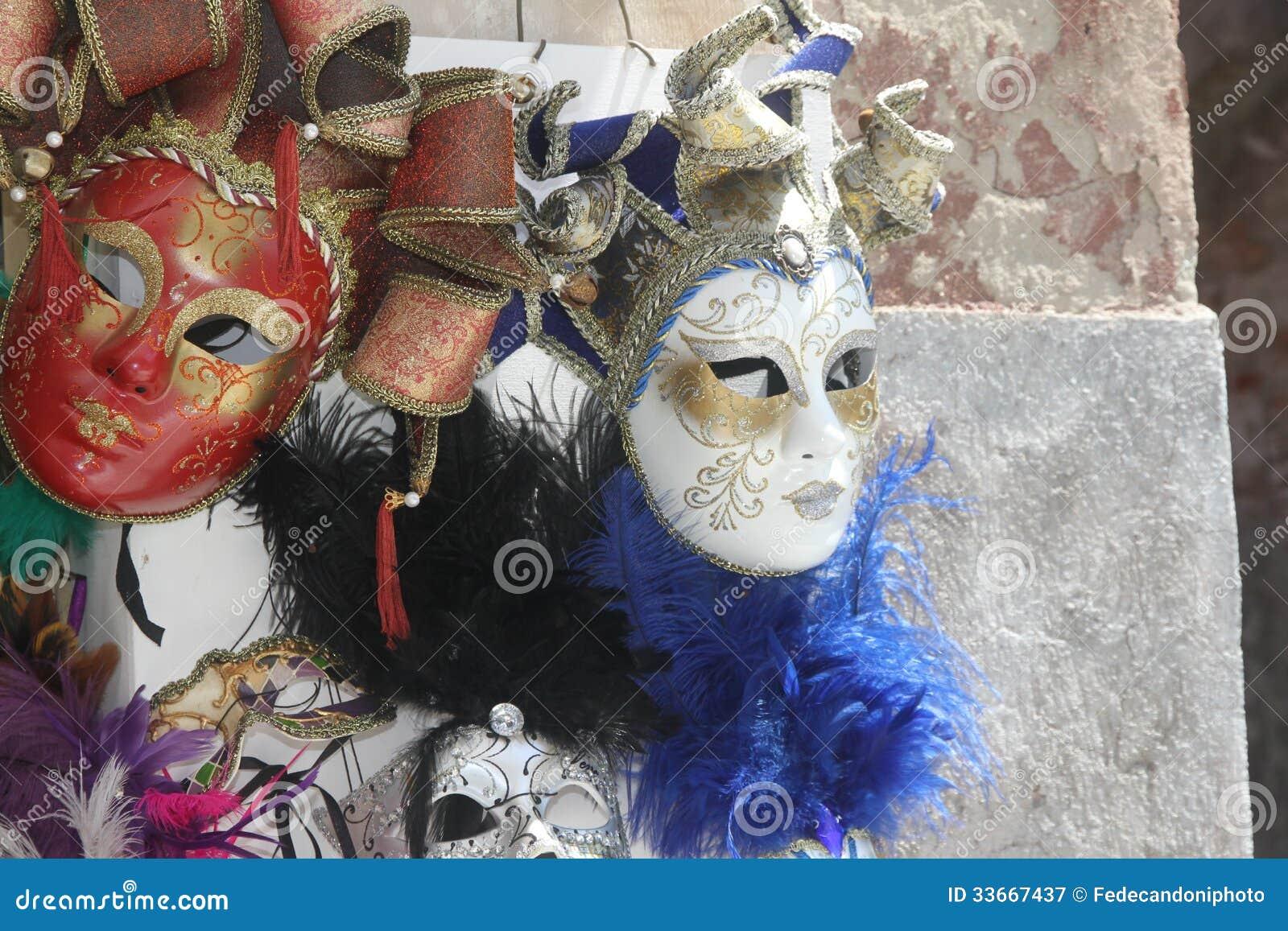 Máscaras Venecianas Originales Hechas A Mano En Un Soporte En Marco ...