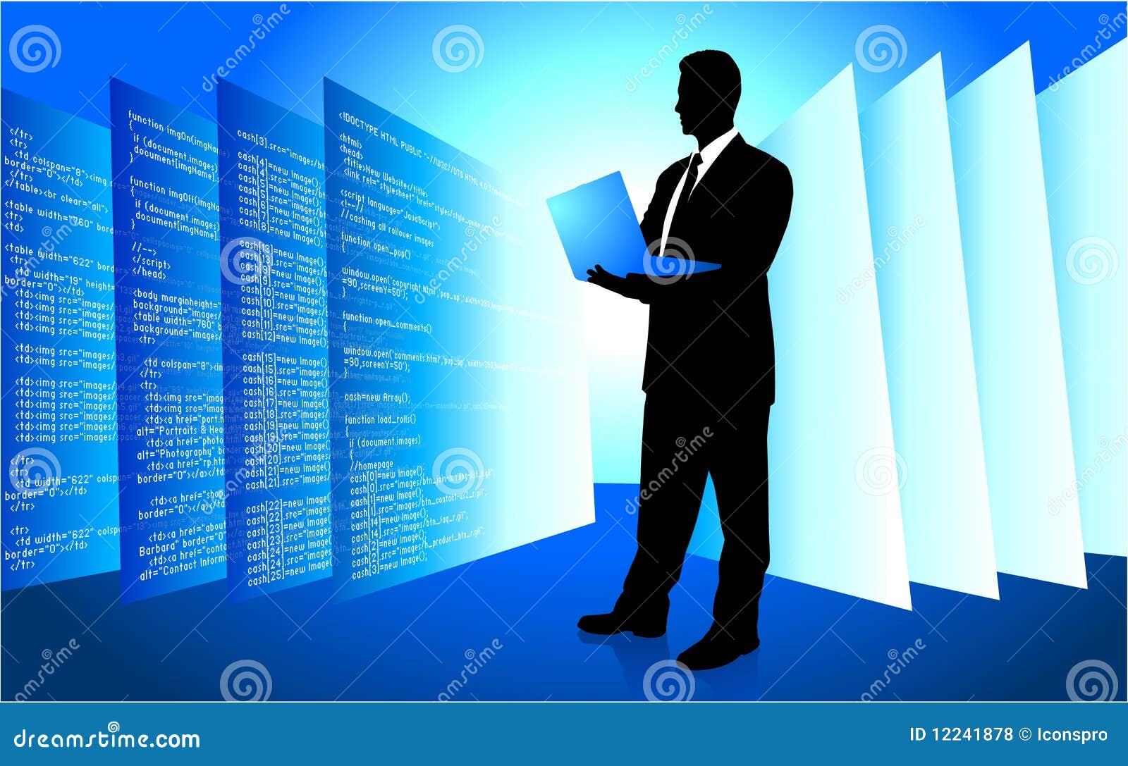 Mâle IL Internet de accès de programmeur sur l ordinateur portatif