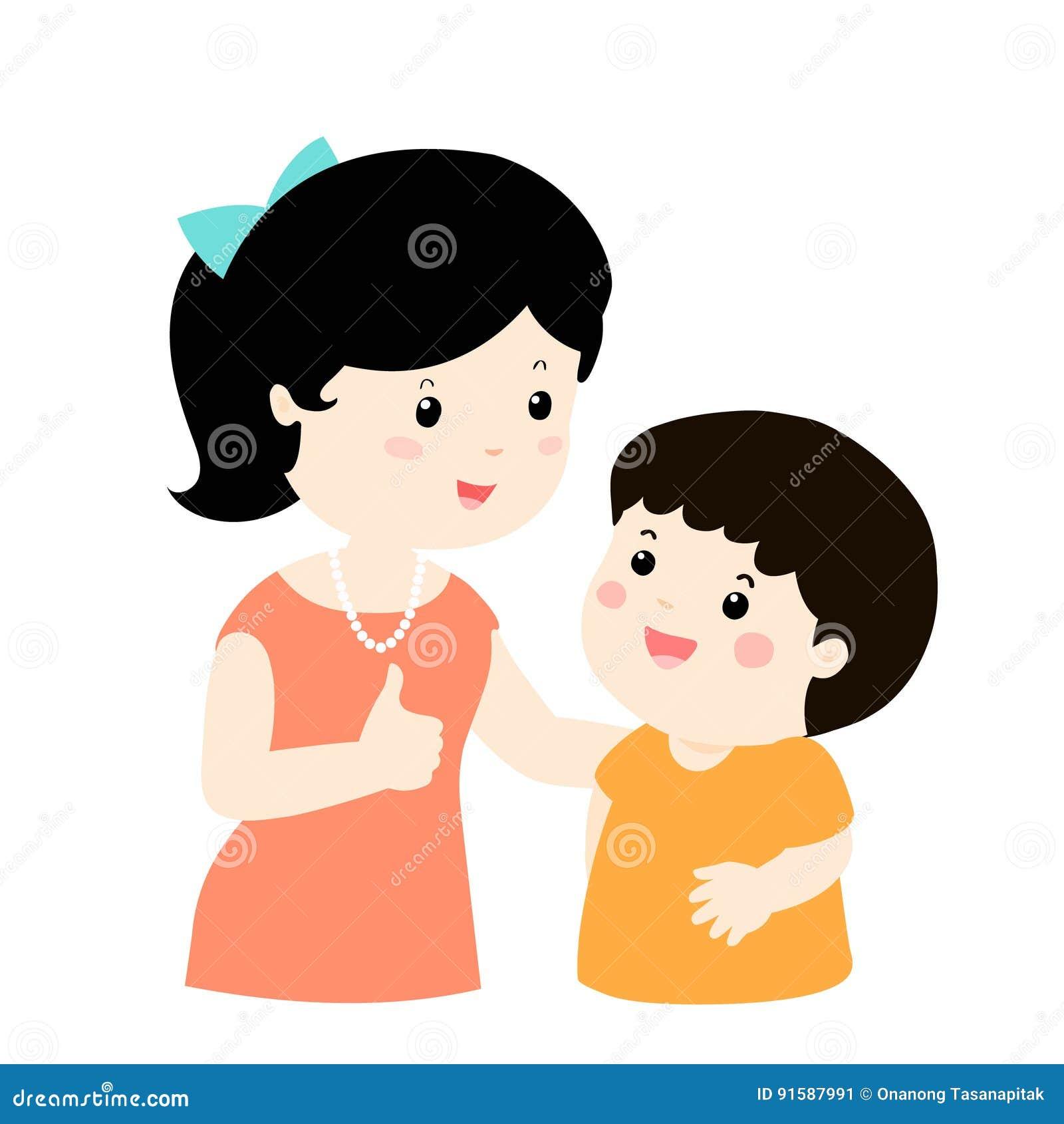 A Mae Admira Desenhos Animados Do Carater Do Filho Ilustracao Do