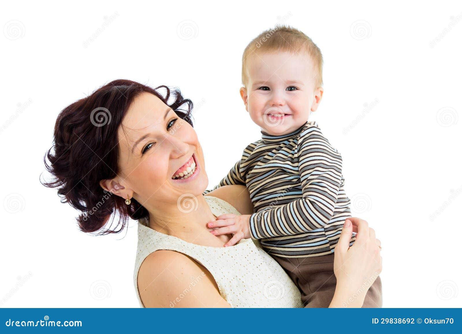 Mãe alegre com menino do miúdo