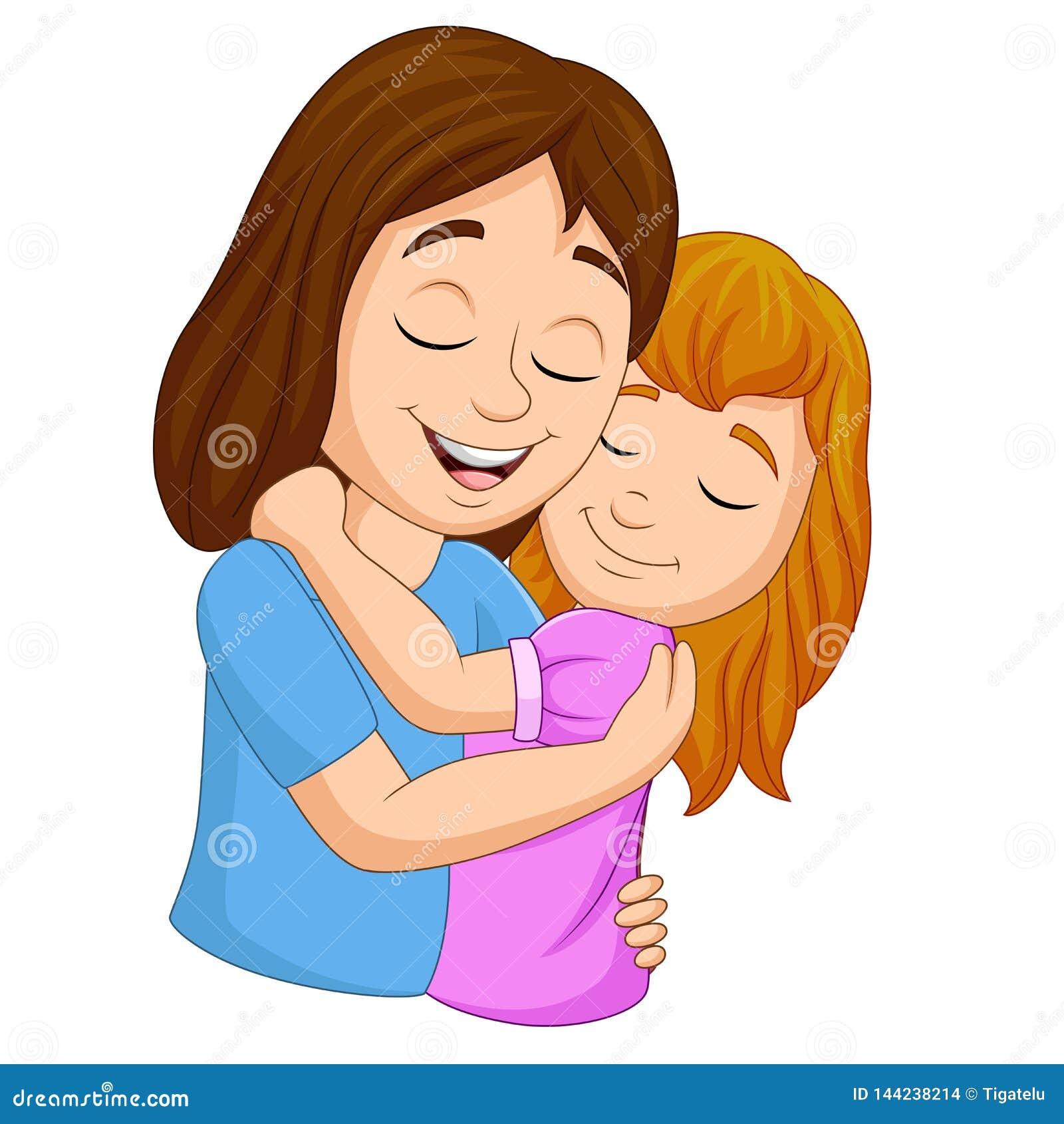 Mae Feliz Dos Desenhos Animados Que Abraca Sua Filha Ilustracao Do