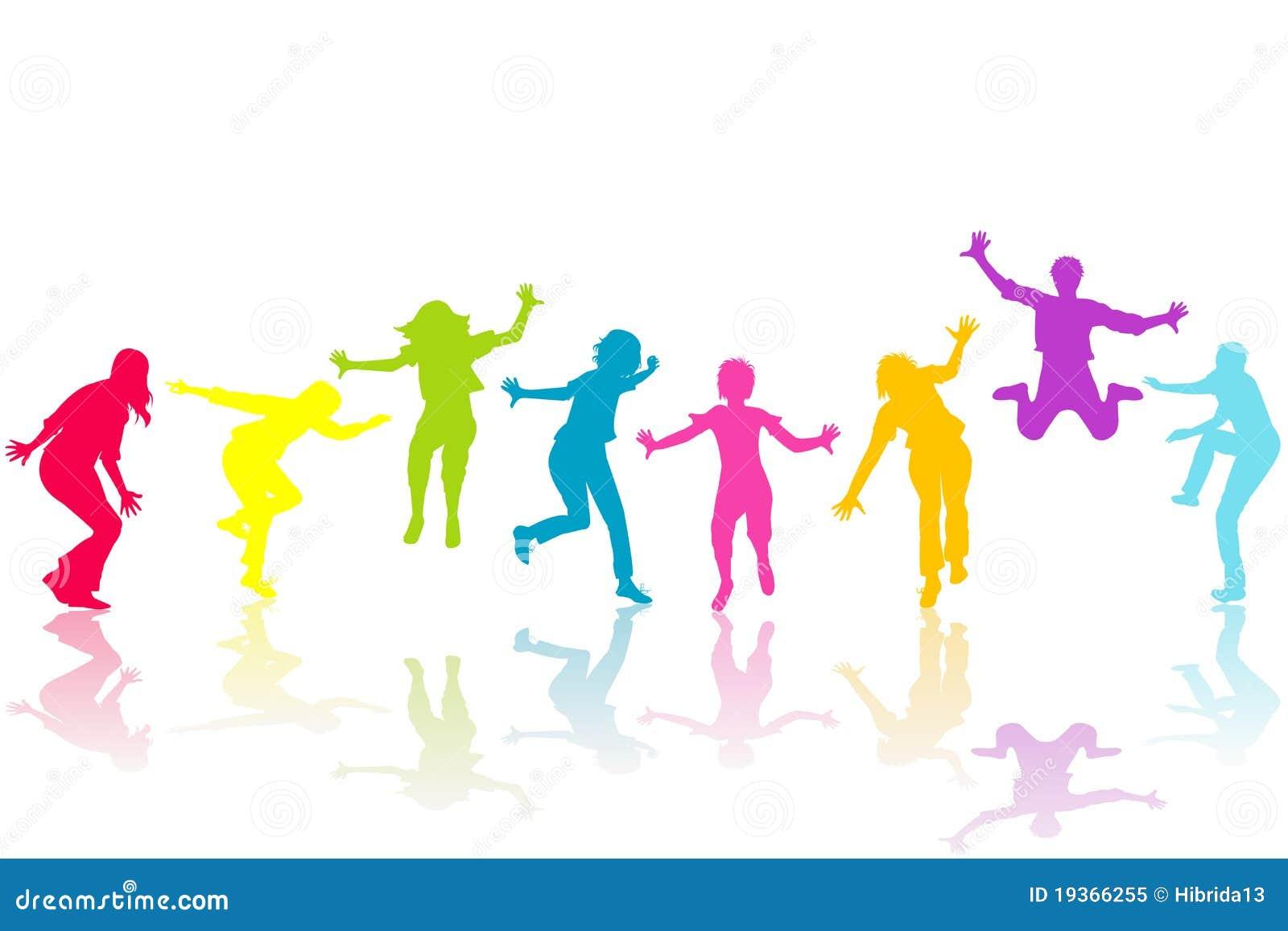 A mão afoga silhuetas coloridas crianças