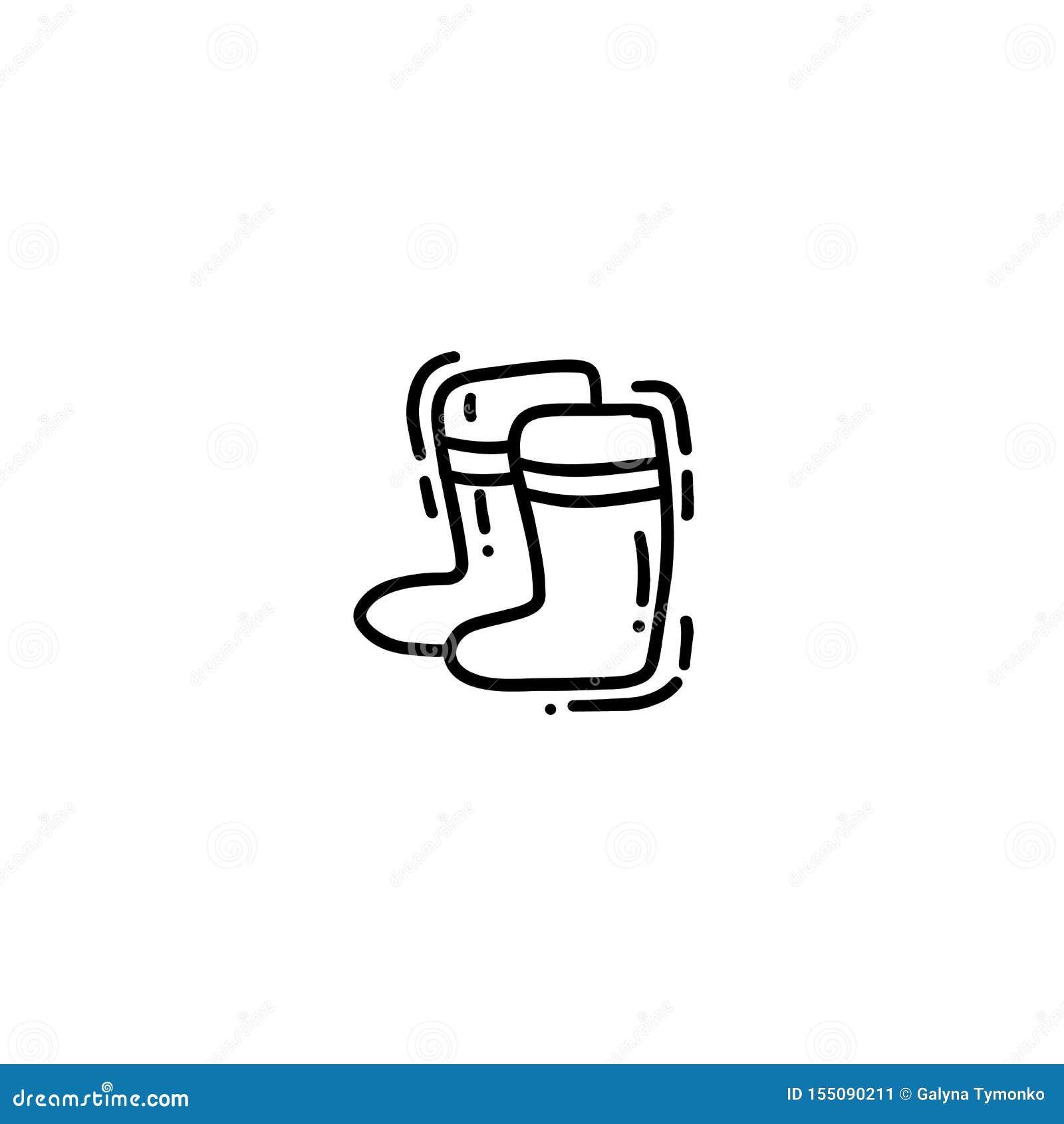 Mão bonito cartão tirado da garatuja do monoline, cartão, tampa, bandeira com as botas de borracha de jardinagem Cartaz engraçado