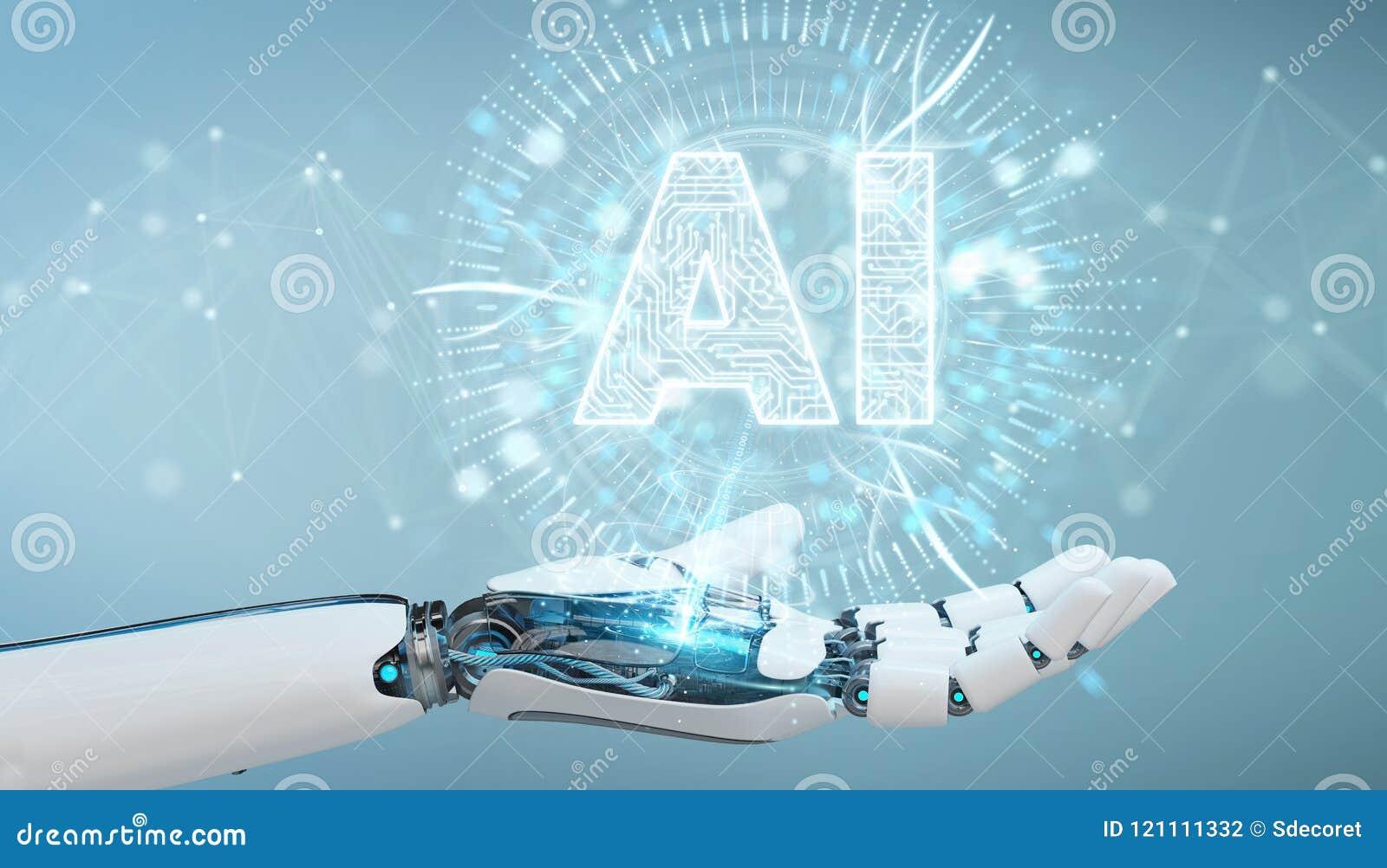Mão branca do humanoid usando o ícone digital h da inteligência artificial