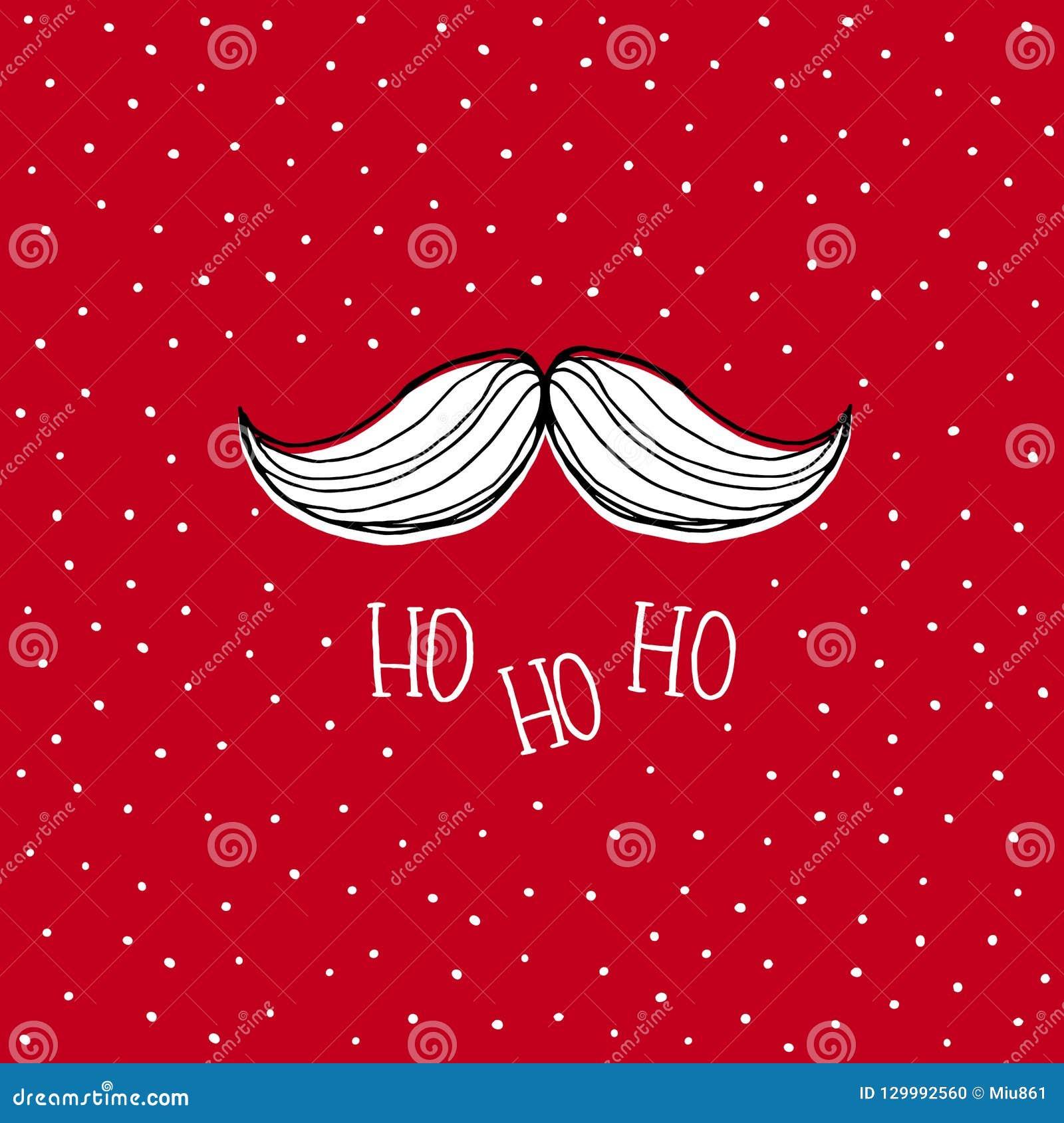 Mão branca Santa Claus Moustache tirada Cartão nevado vermelho do vetor do Natal