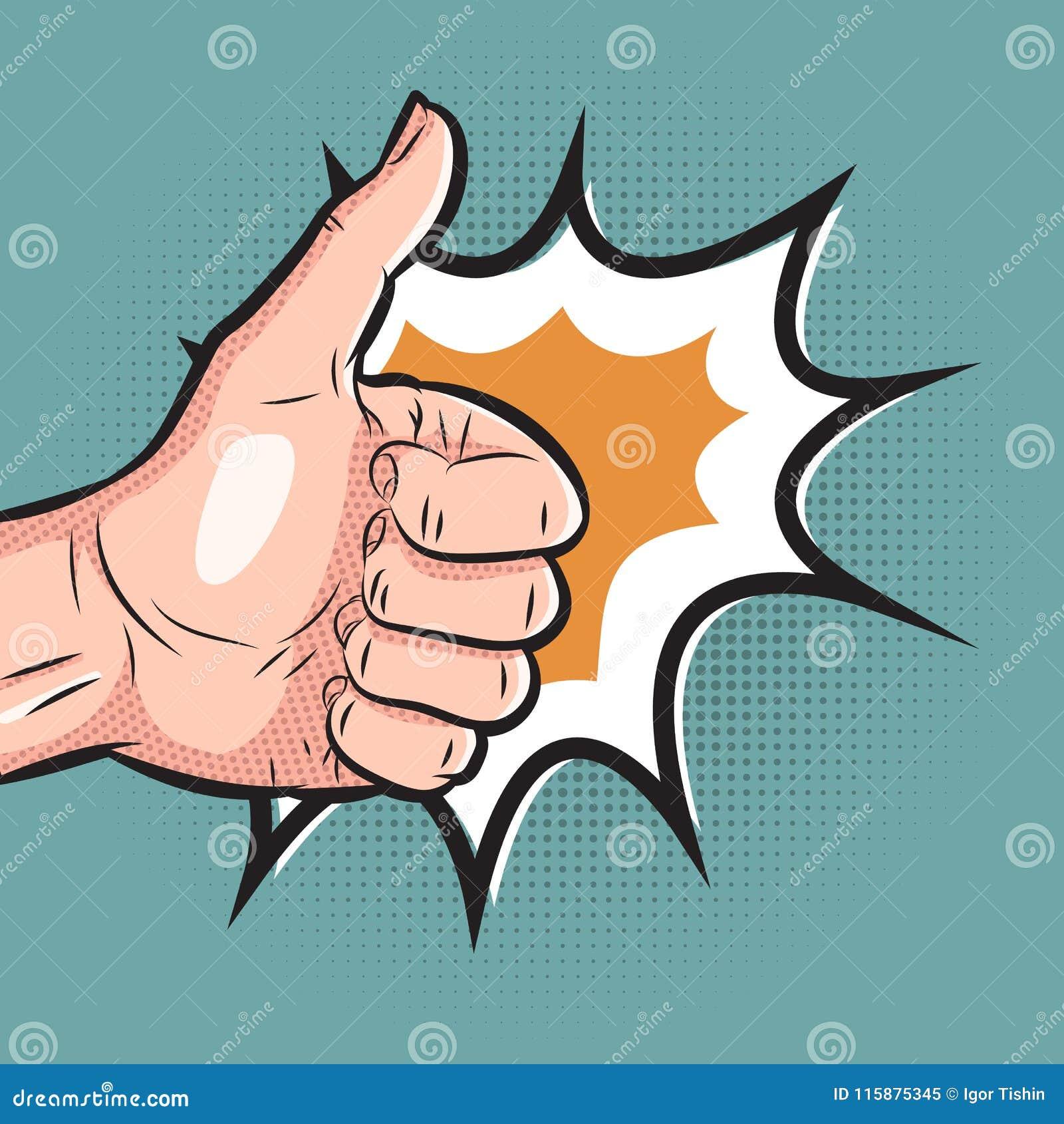 Mão cômica que mostra o polegar acima do gesto o pop art gosta do sinal no fundo de intervalo mínimo