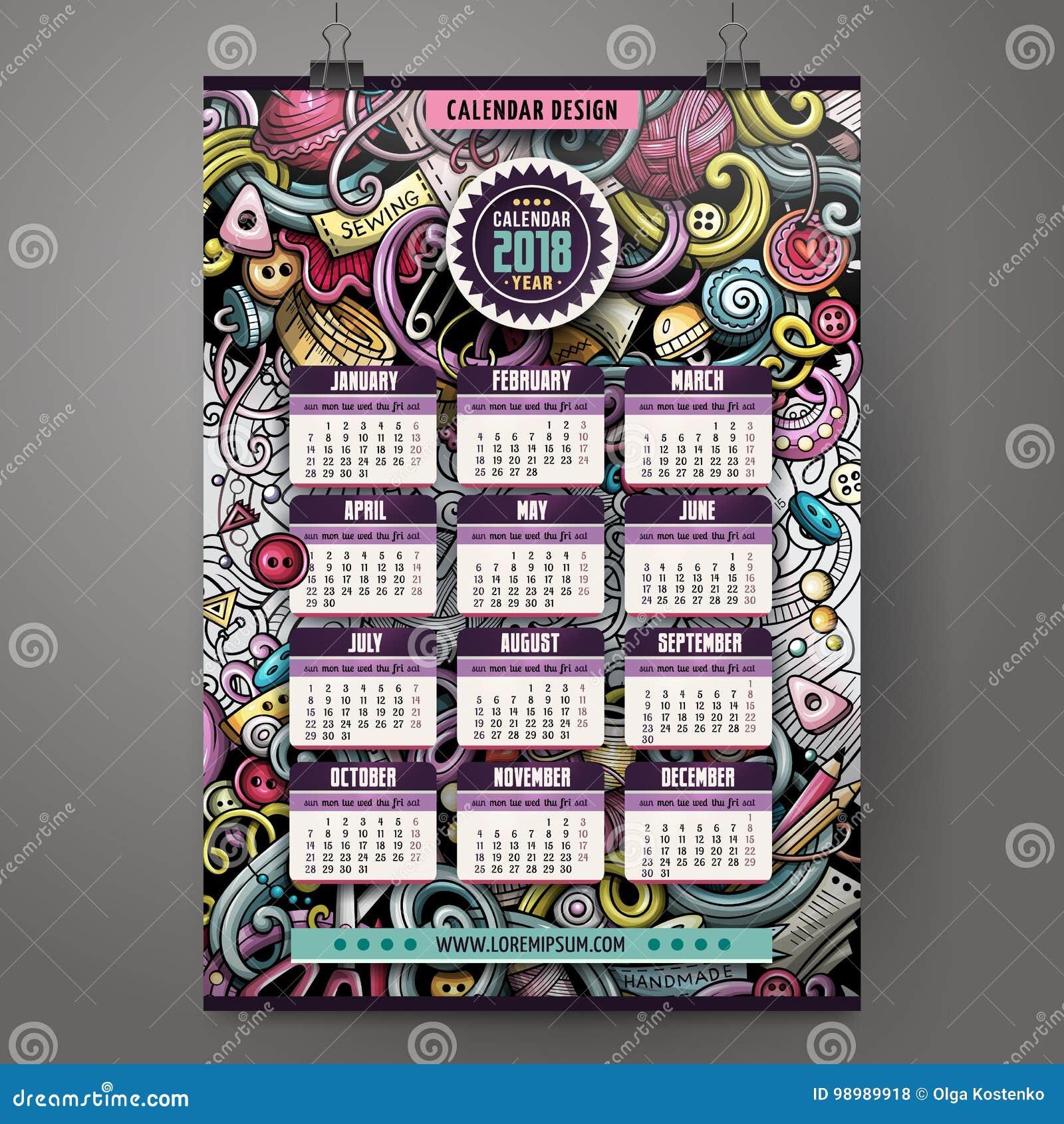 A mão colorida dos desenhos animados tirada rabisca o calendário feito a mão de 2018 anos