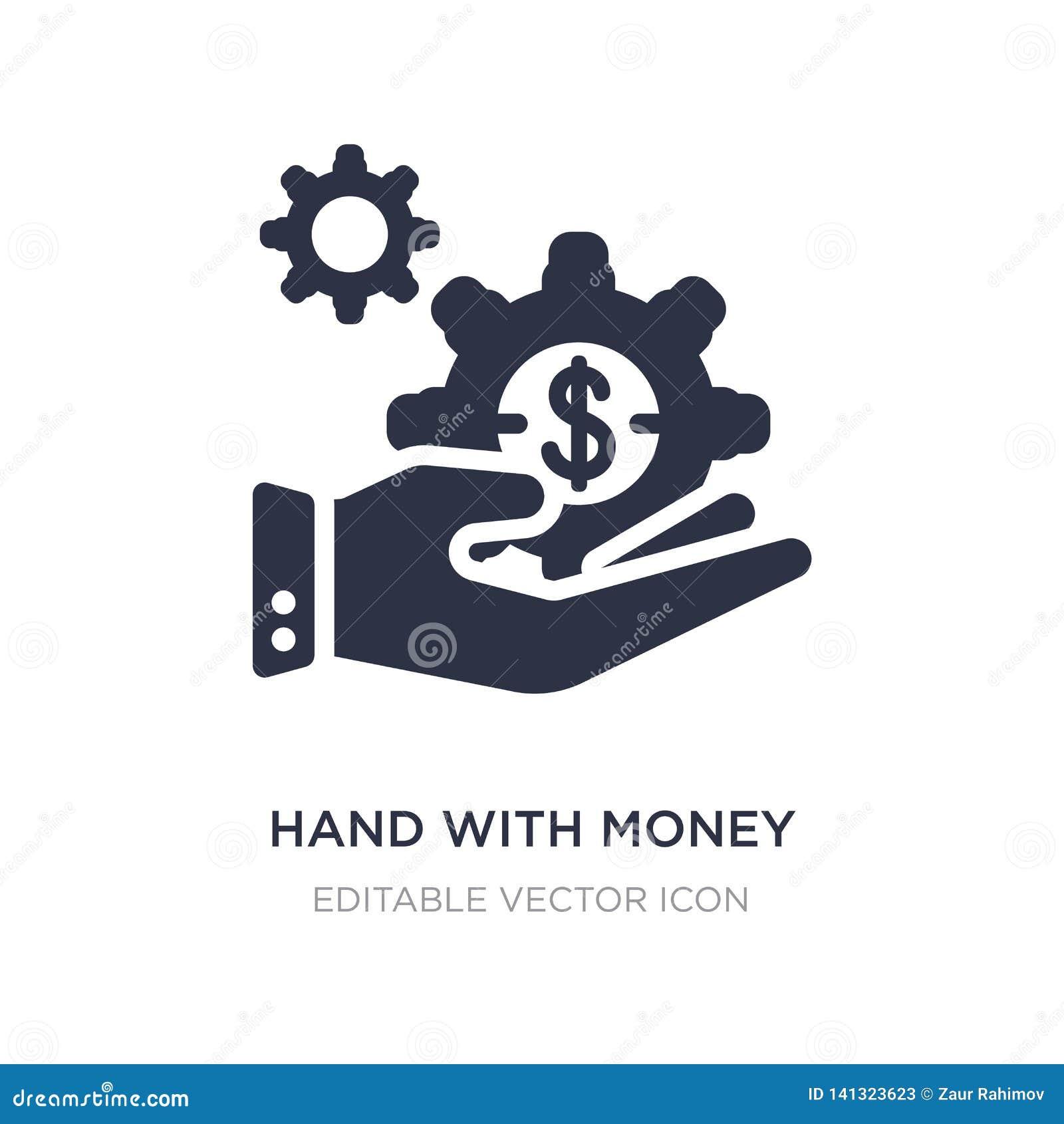 Mão com ícone da engrenagem do dinheiro no fundo branco Ilustração simples do elemento do conceito do negócio
