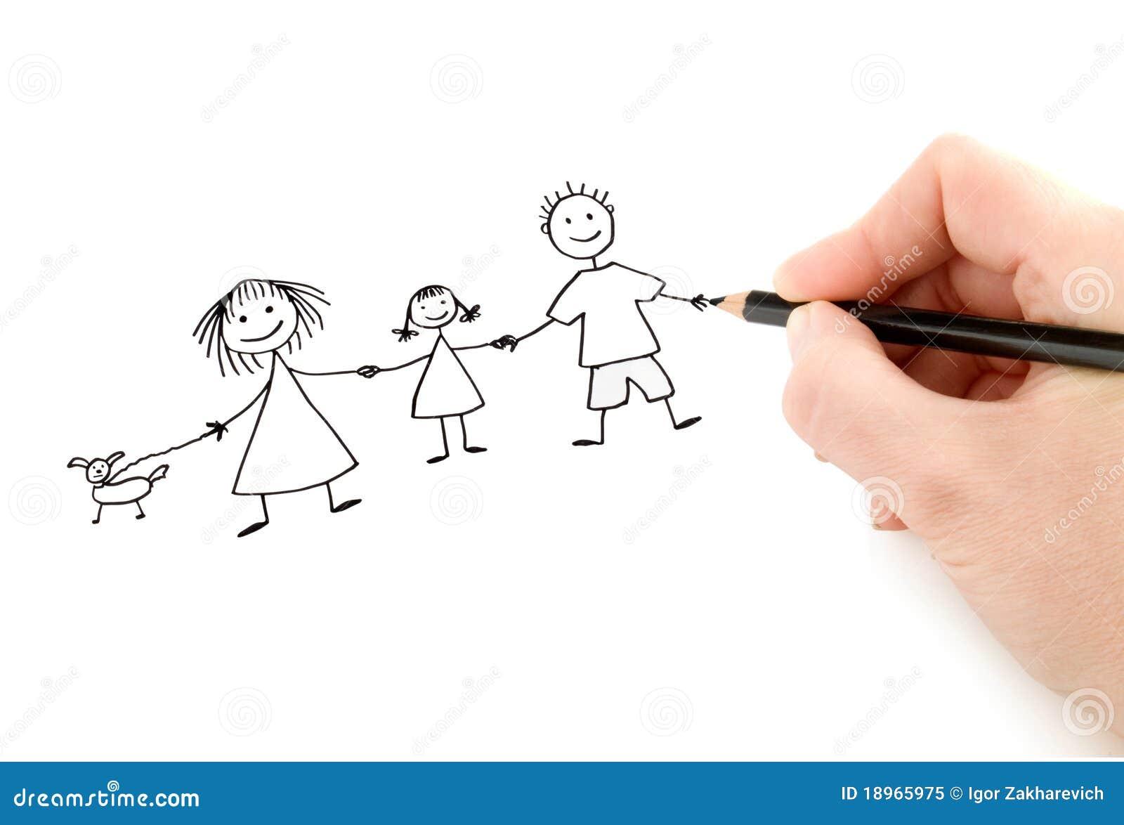Mão com a família feliz do desenho de lápis