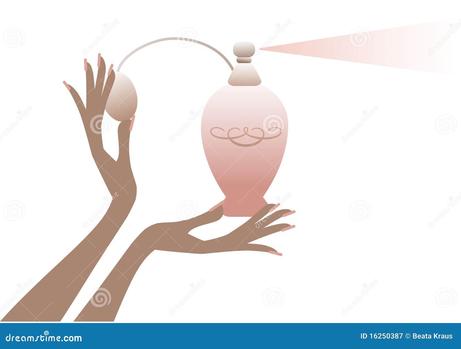 Mão com frasco de perfume,