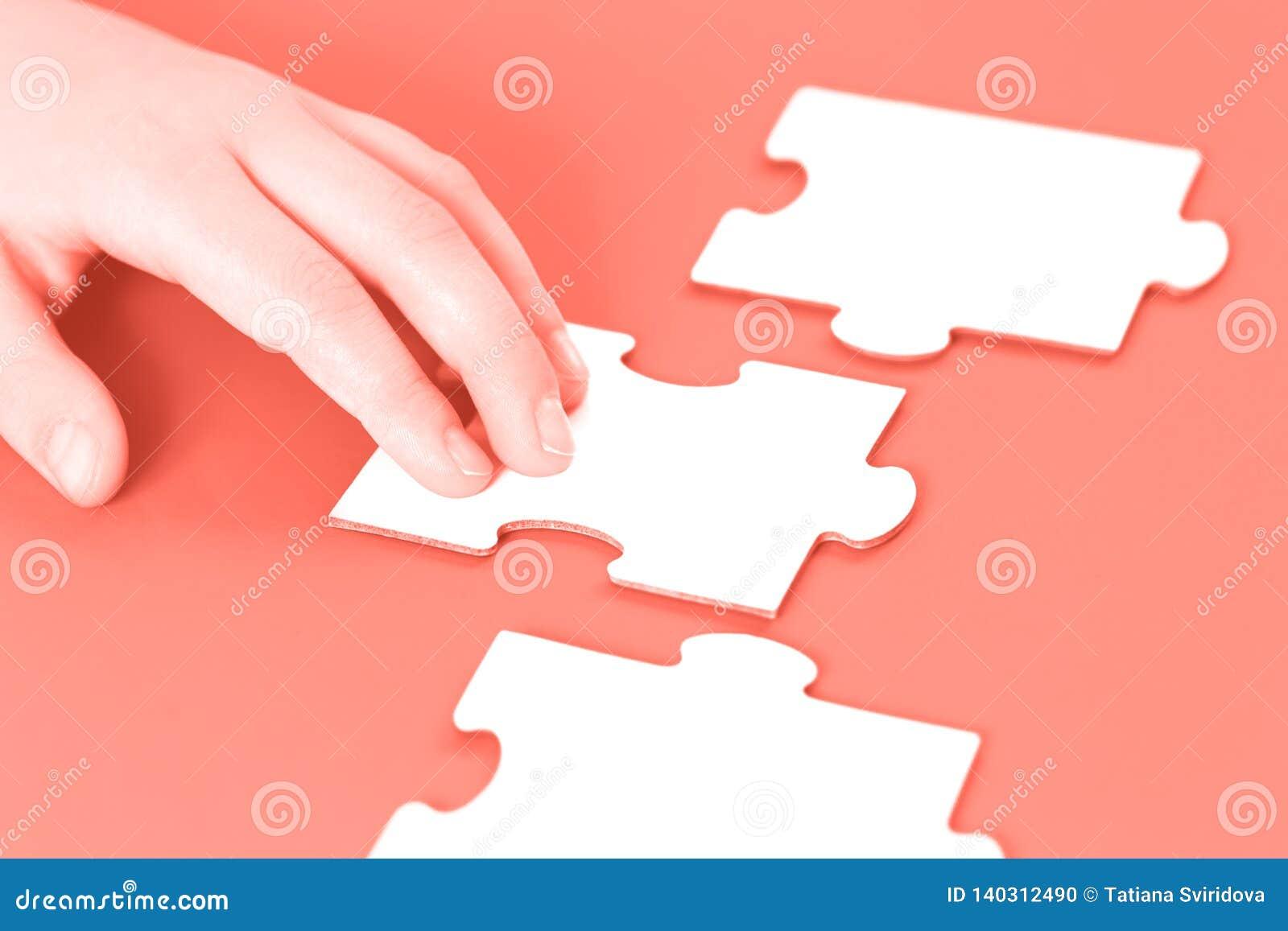 Mão com partes do enigma de serra de vaivém na mesa coral