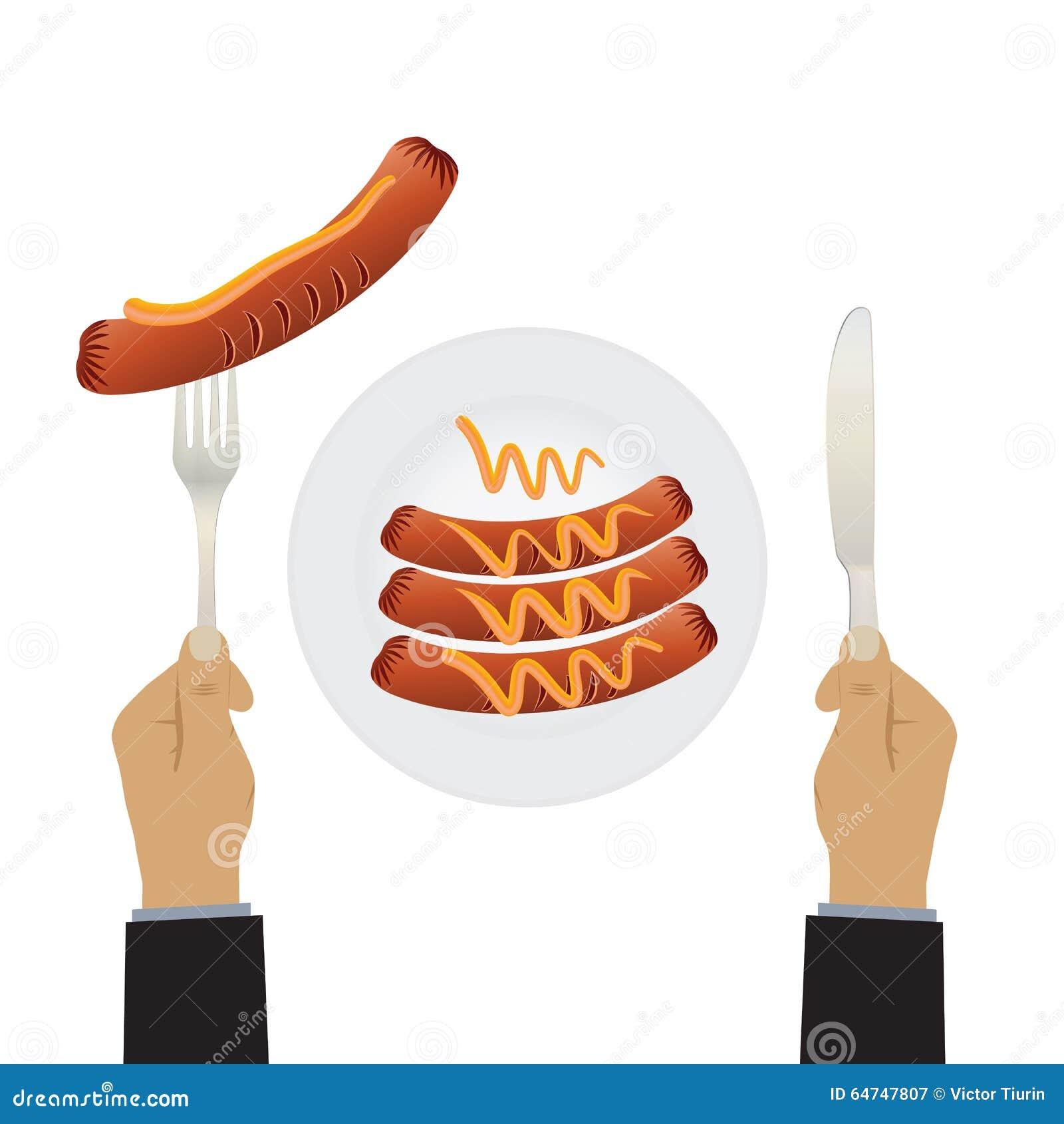 Mão com uma faca e as salsichas em uma placa