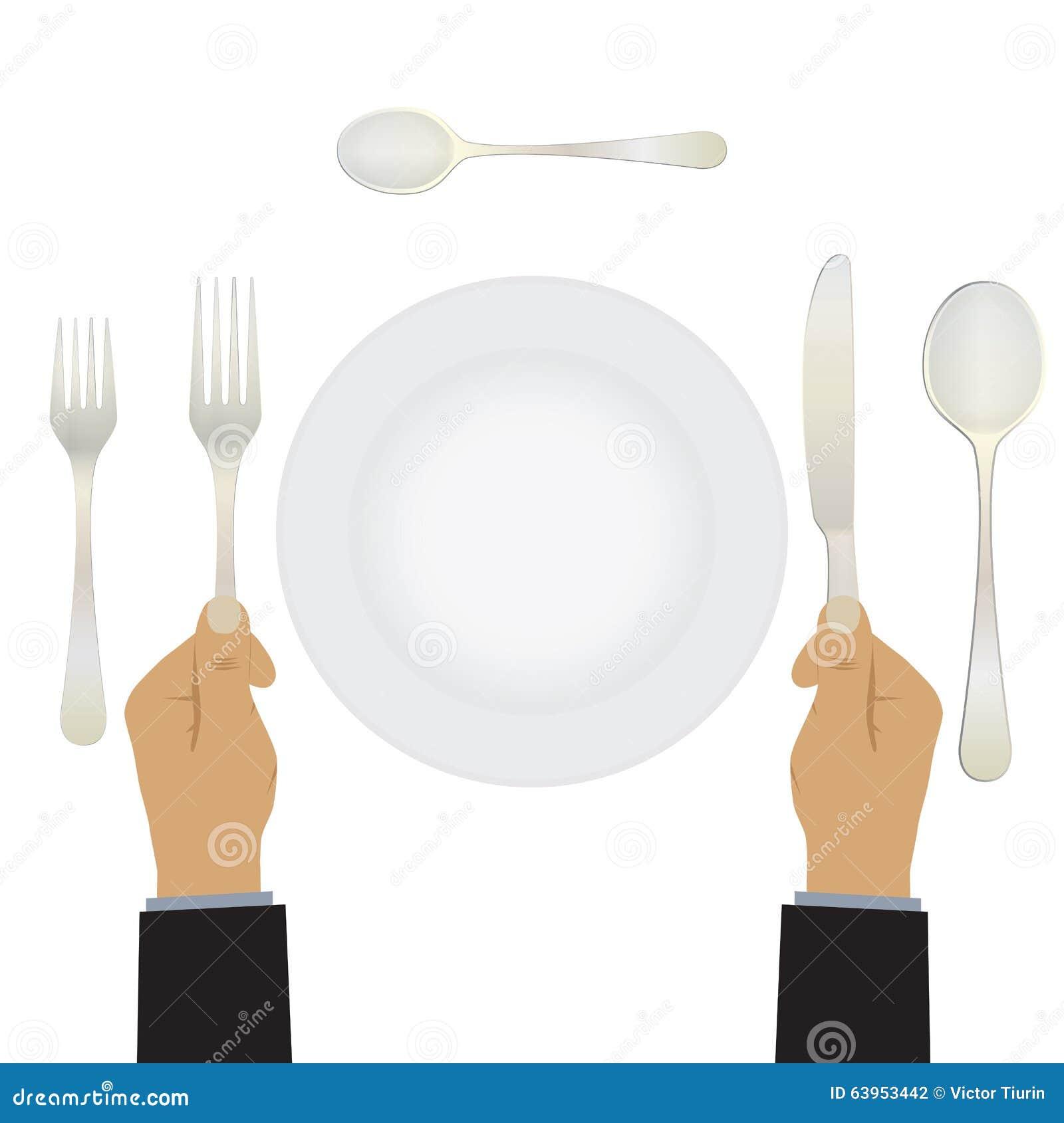 Mão com uma faca e uma forquilha tableware