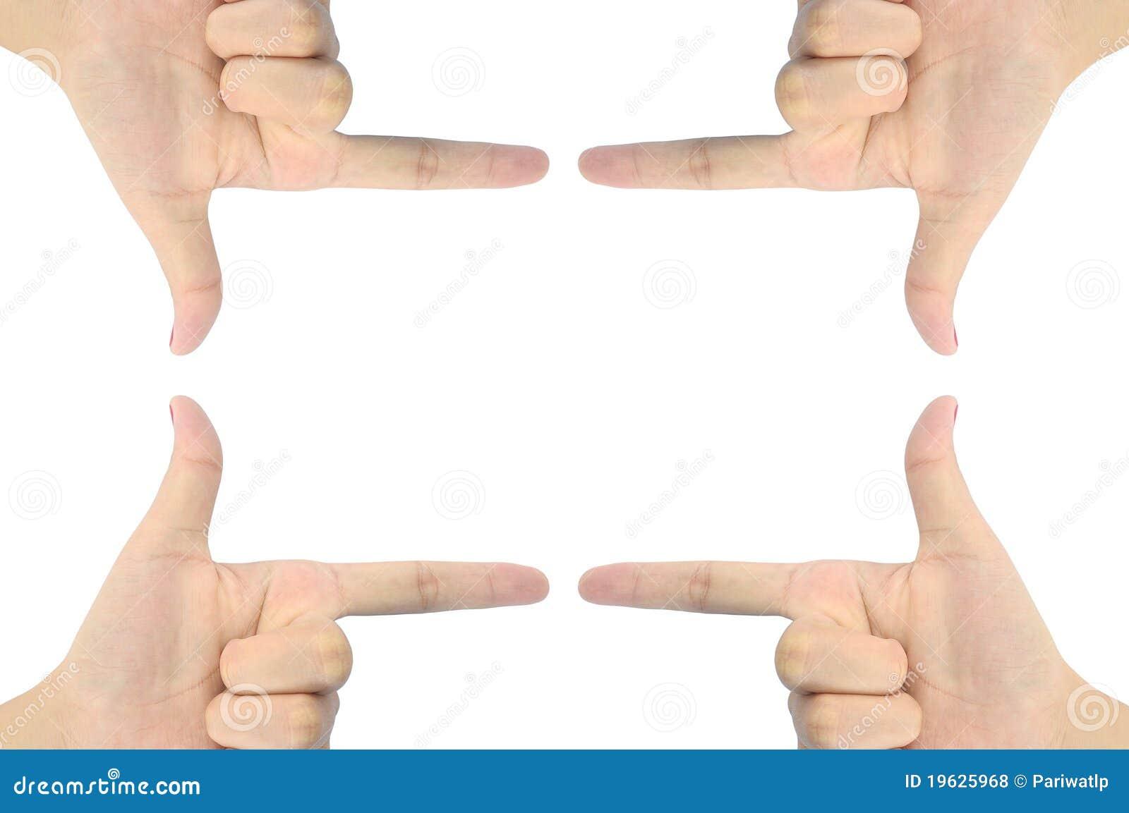 Mão como a forma do retângulo