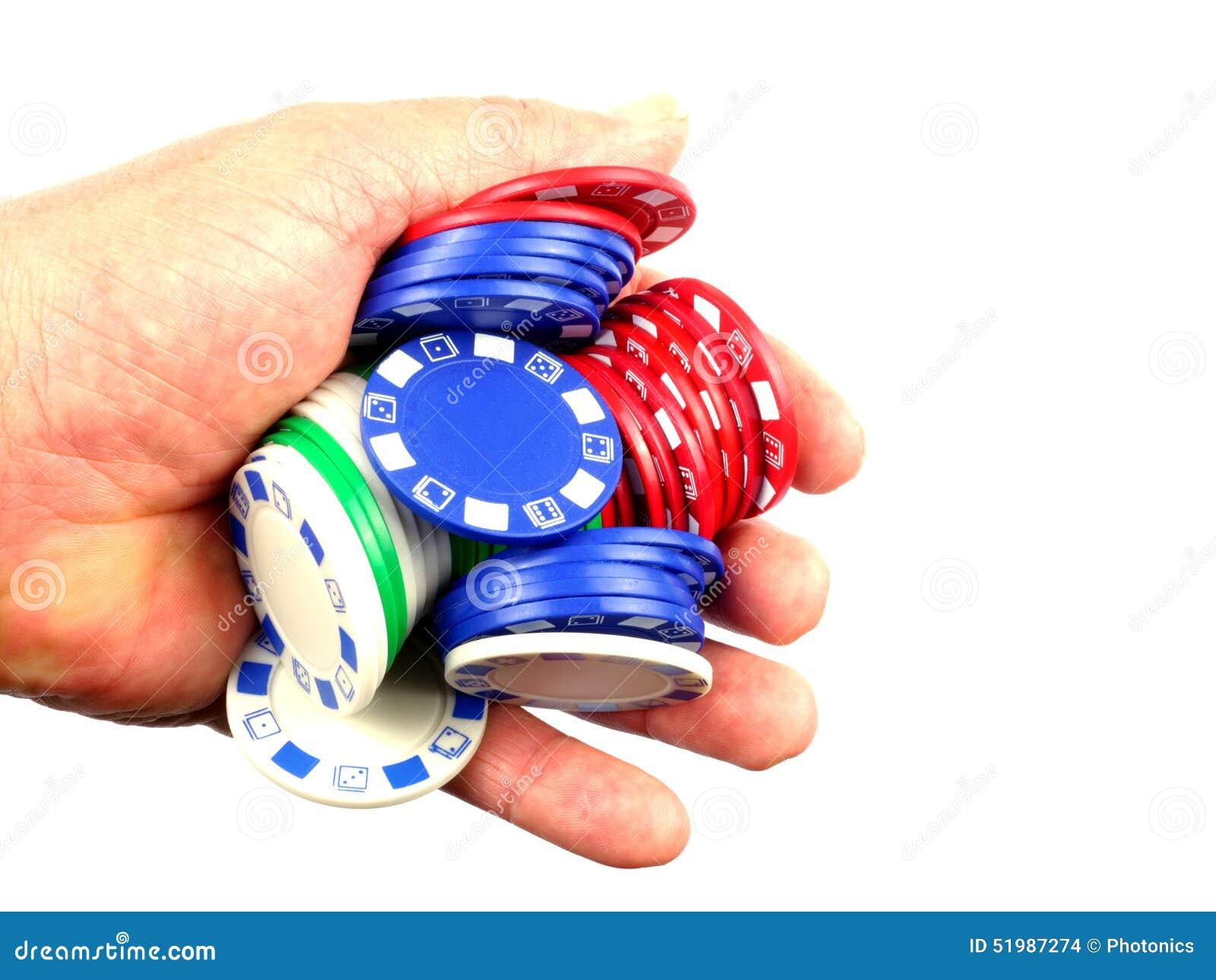 Mão completamente de microplaquetas de pôquer