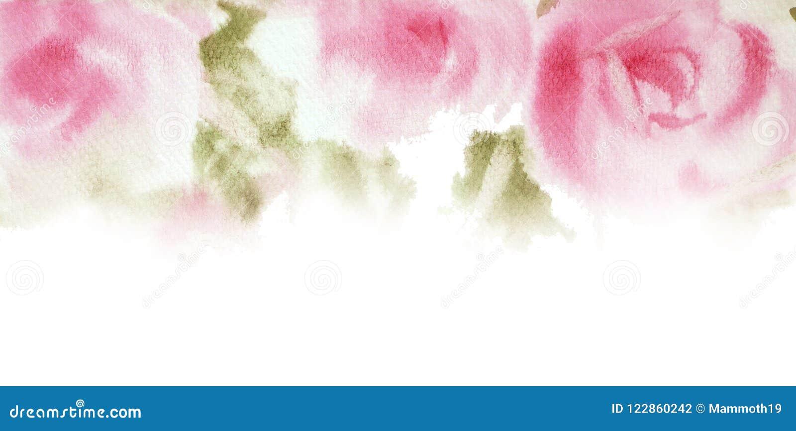 Mão cor-de-rosa da aquarela das rosas tirada Salvar o projeto de cartão da data Invi