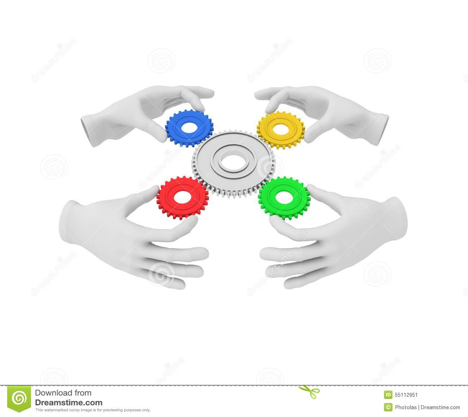 A mão 3d humana branca guarda a engrenagem colorida (a roda denteada) ilustração 3D