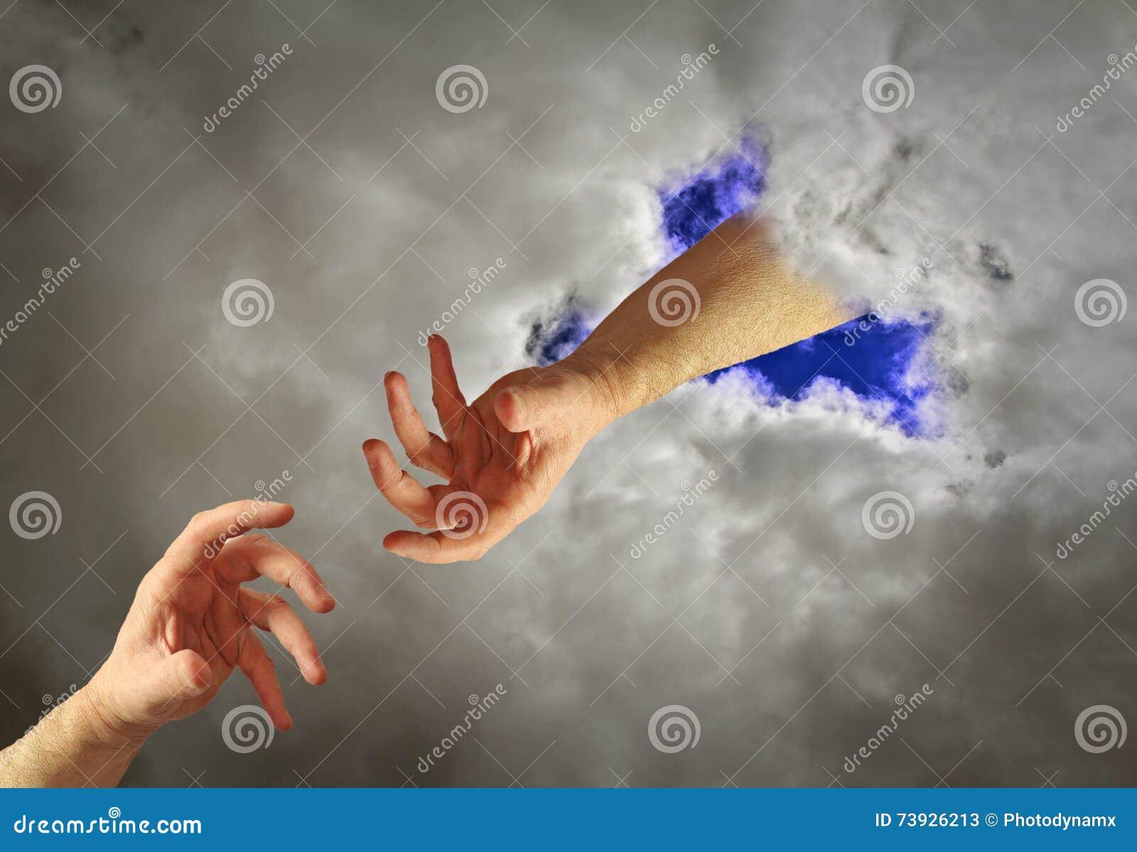 Mão da ajuda do deus