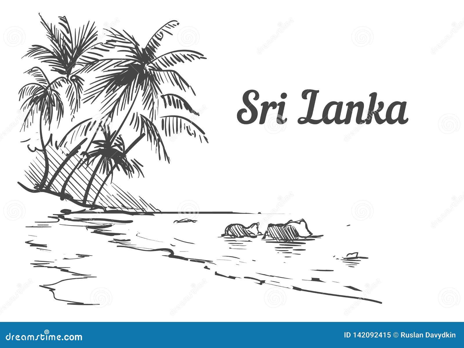 Mão da ilha de Sri Lanka do Palm Beach tirada Ilustração do vetor do esboço de Sri Lanka