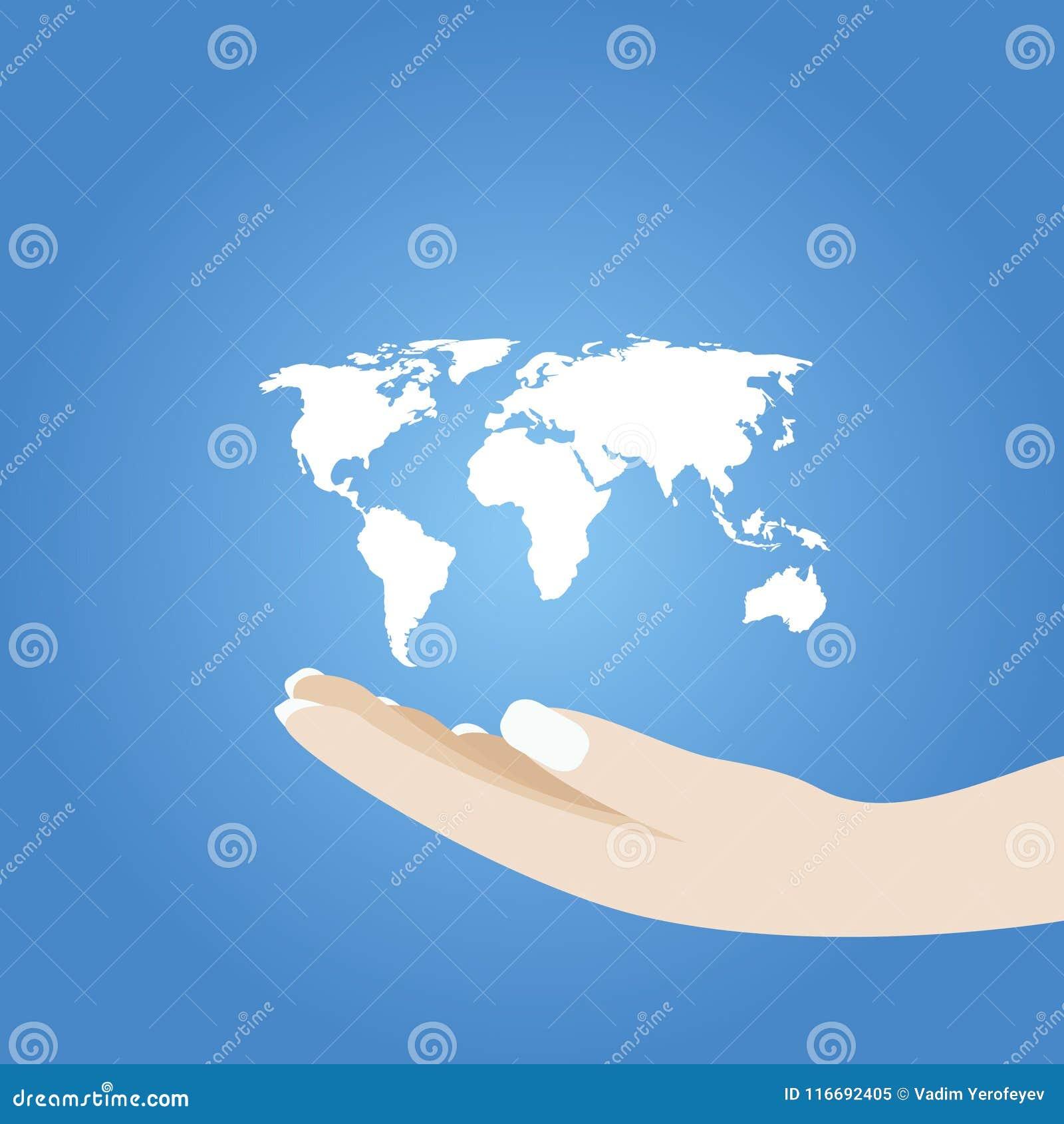 Mão da mulher que guarda a ilustração do vetor da terra