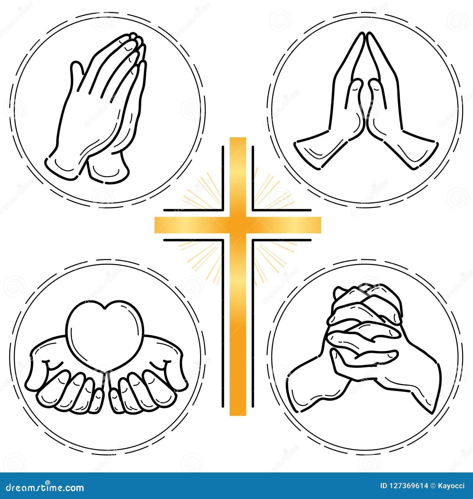 Mão Da Oração Ajustada Cristandade Ilustração Do Vetor