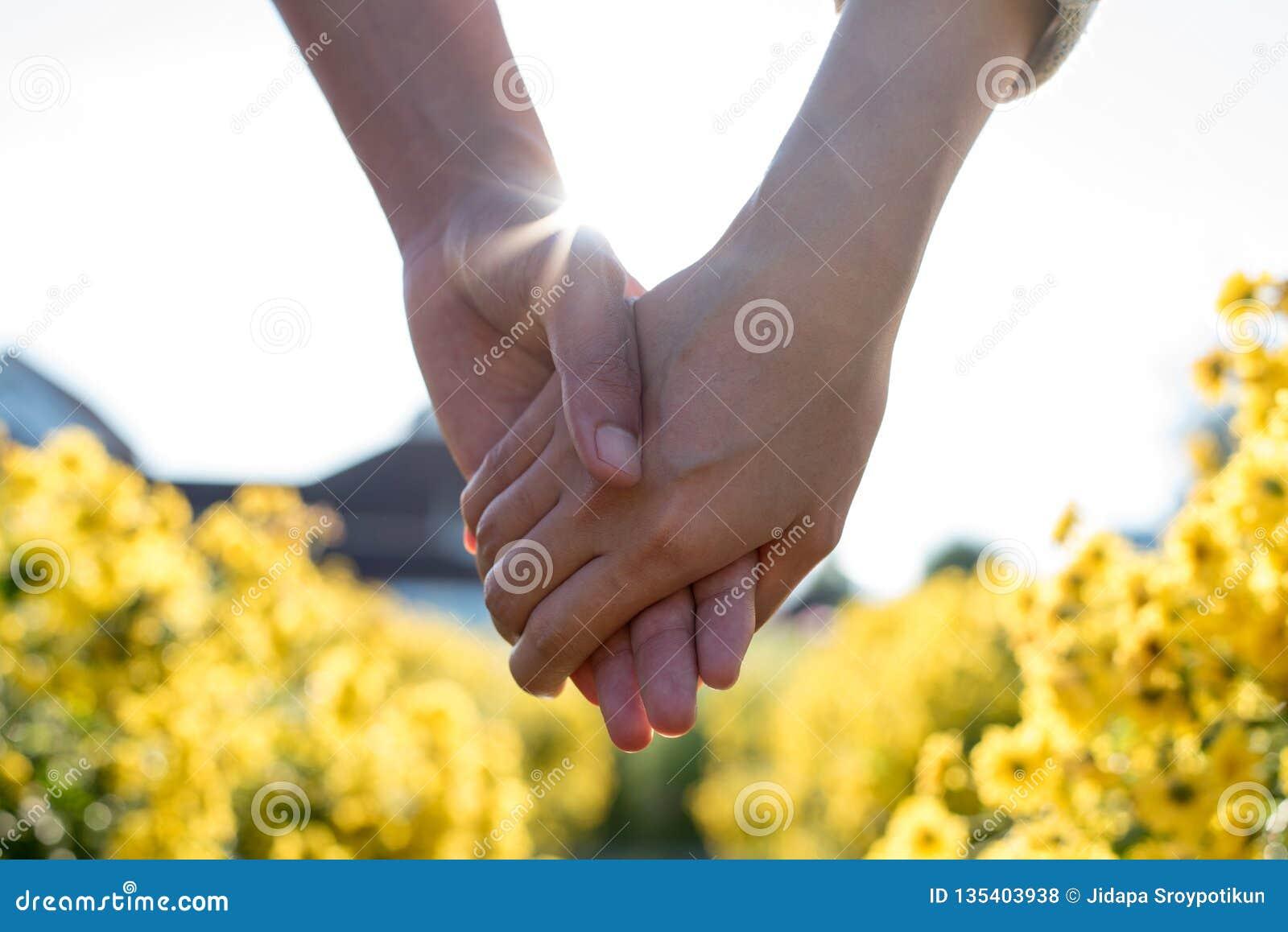 Mão da terra arrendada da mulher e do homem