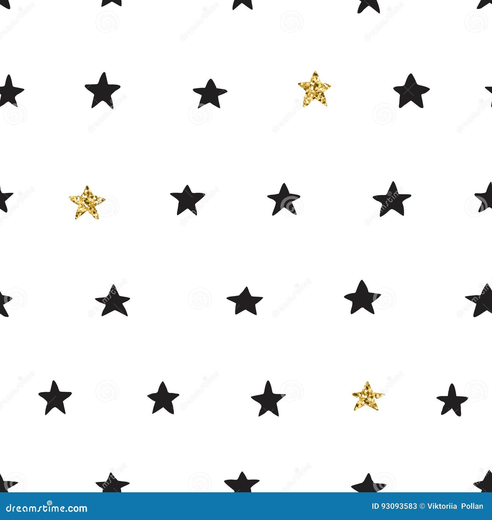 A mão da tinta e do ouro tirada rabisca o teste padrão de estrela sem emenda do vetor